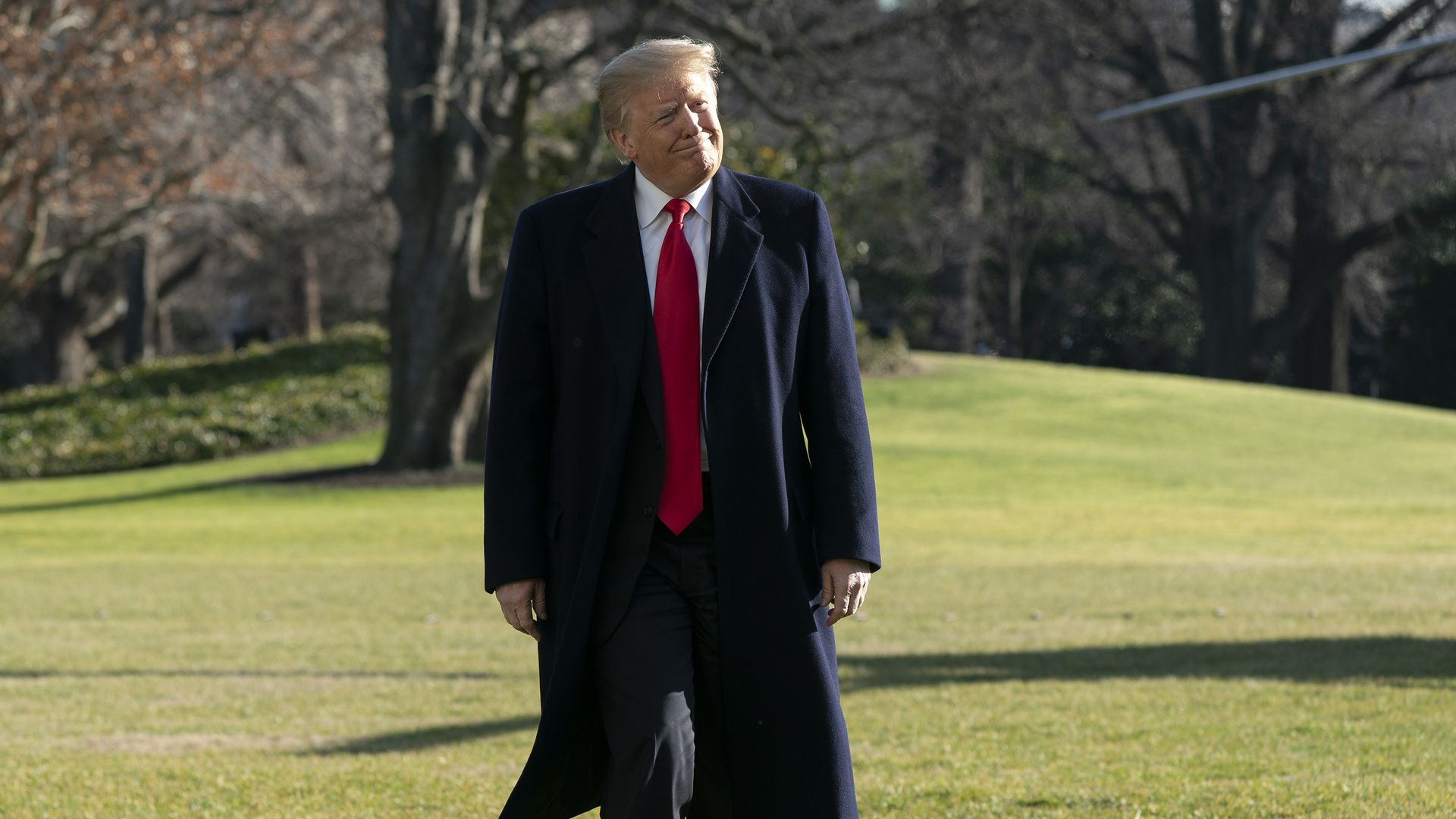 President Trump walks on the White House South Lawn