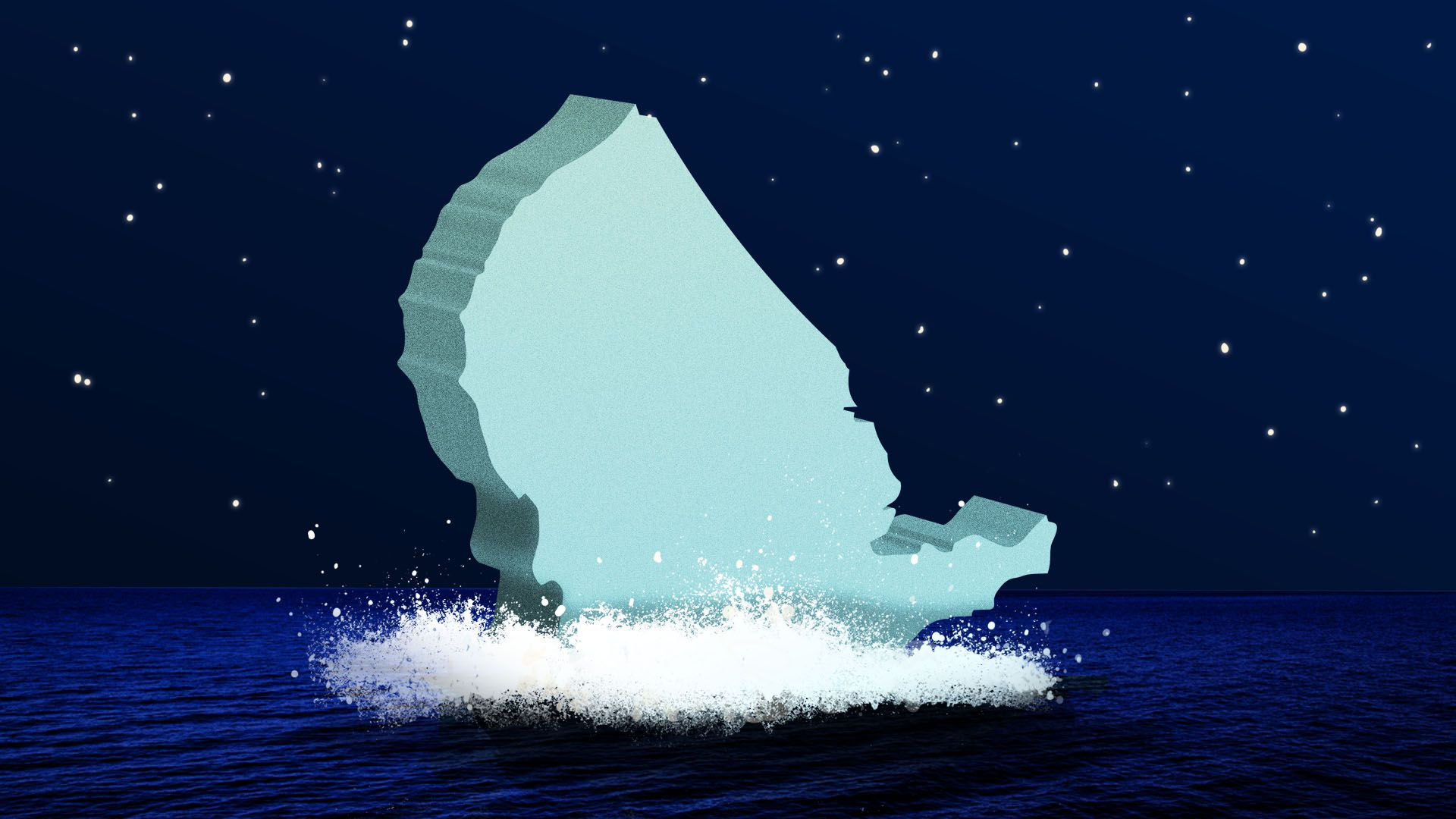 Illustration of the United States sinking into the ocean like the Titanic