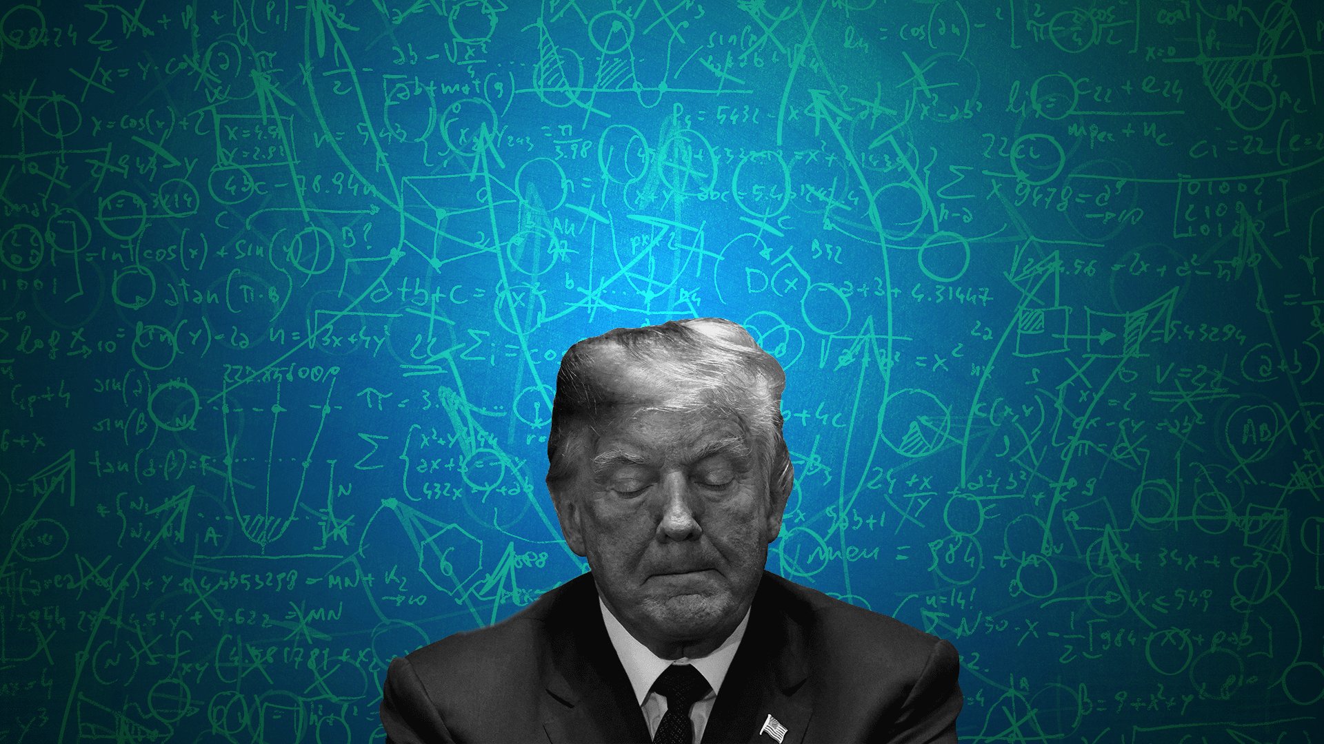 Illustration of President Trump looking down in front of a background of equations and strategy diagrams.