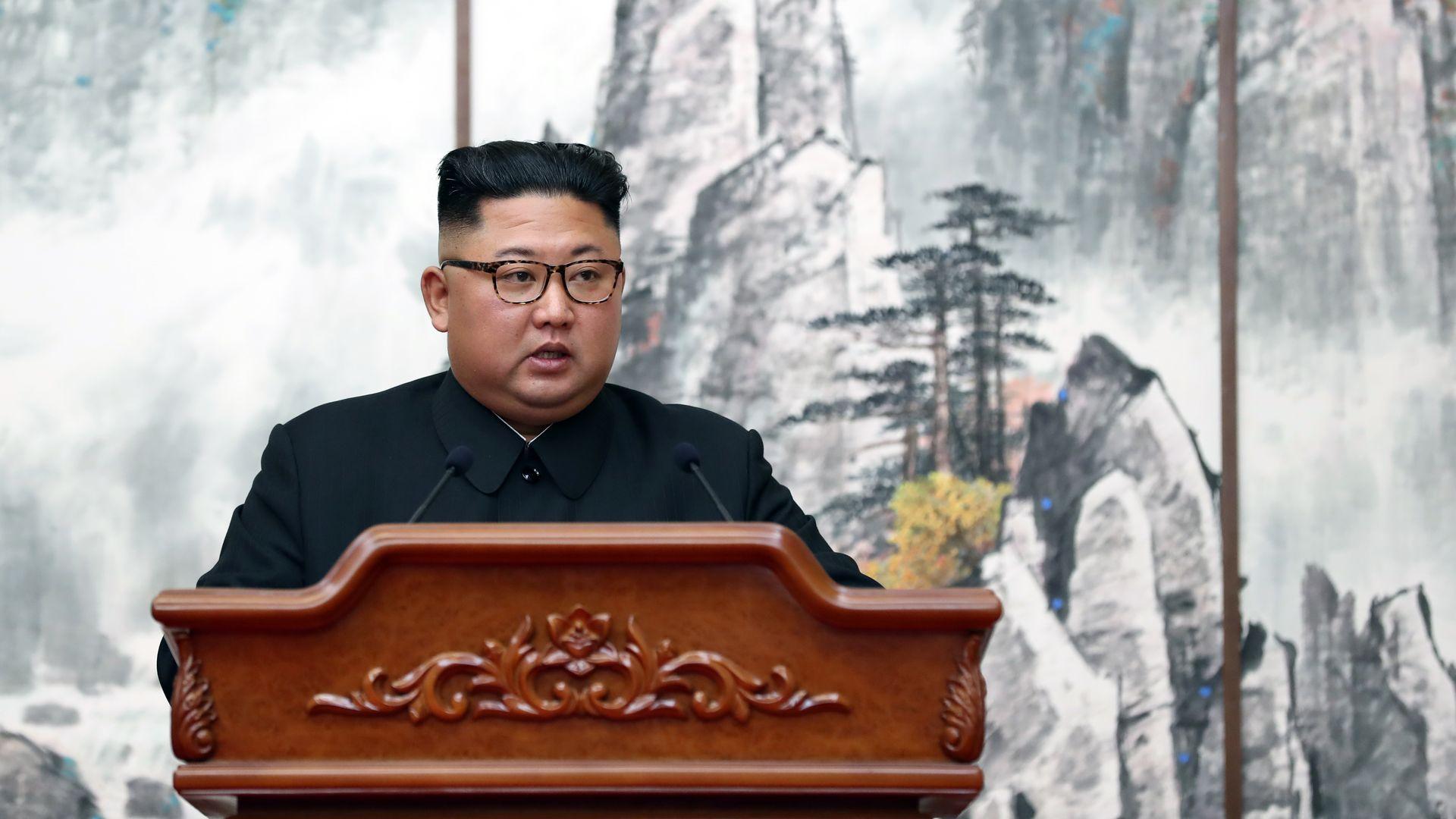Kim Jong un behind a podium