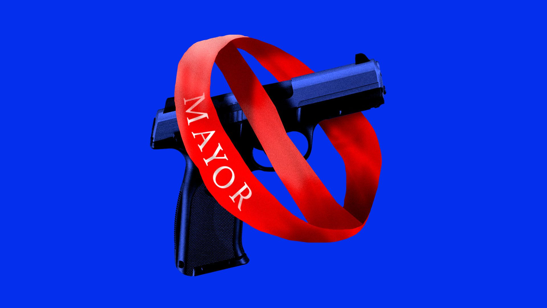 Illustration of a mayor's sash in the shape of a prohibition sign around a handgun