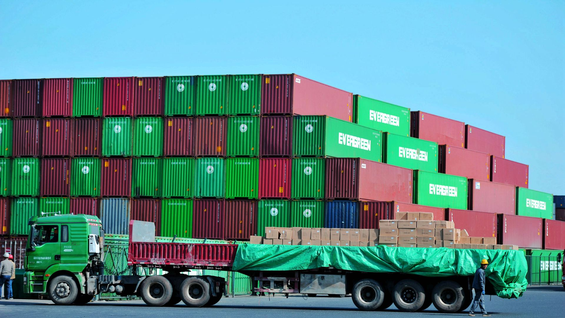 A distribution company outside the container port in Qingdao in east China's Shandong province.