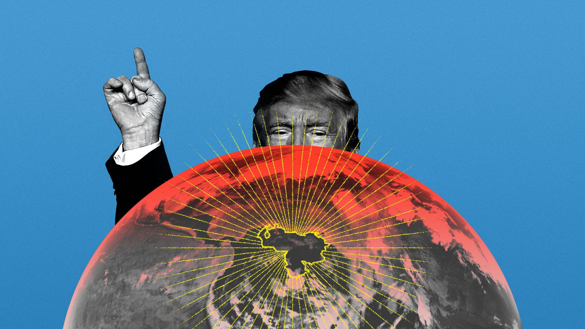 Trump peering from behind a globe and wagging his finger at Venezuela