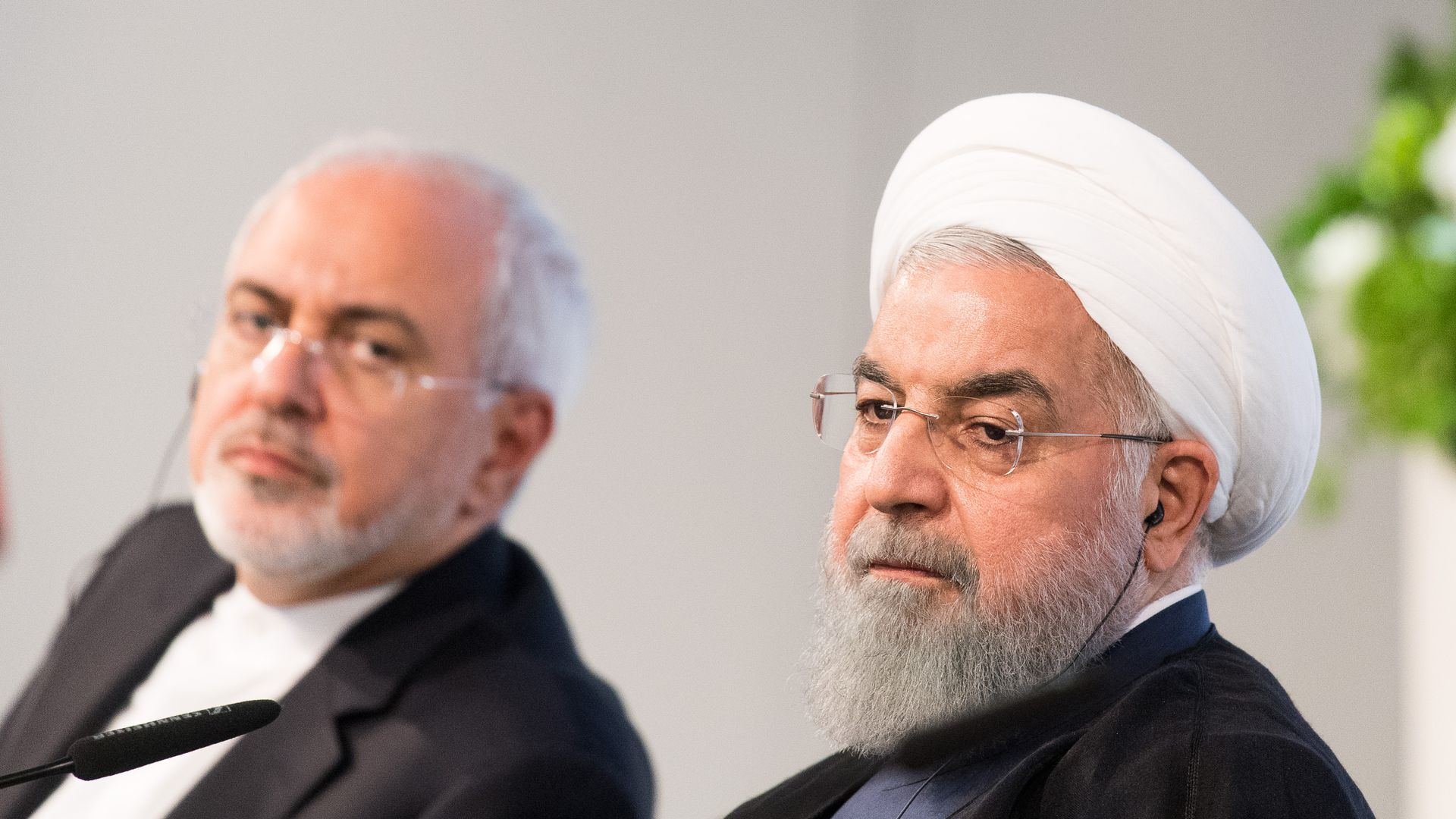 Iranian President Hassan Rouhani and Mohammad Javad Zarif, Iran's foreign secretary, at the Austrian Chamber of Commerce on July 4, 2018 in Vienna, Austria.