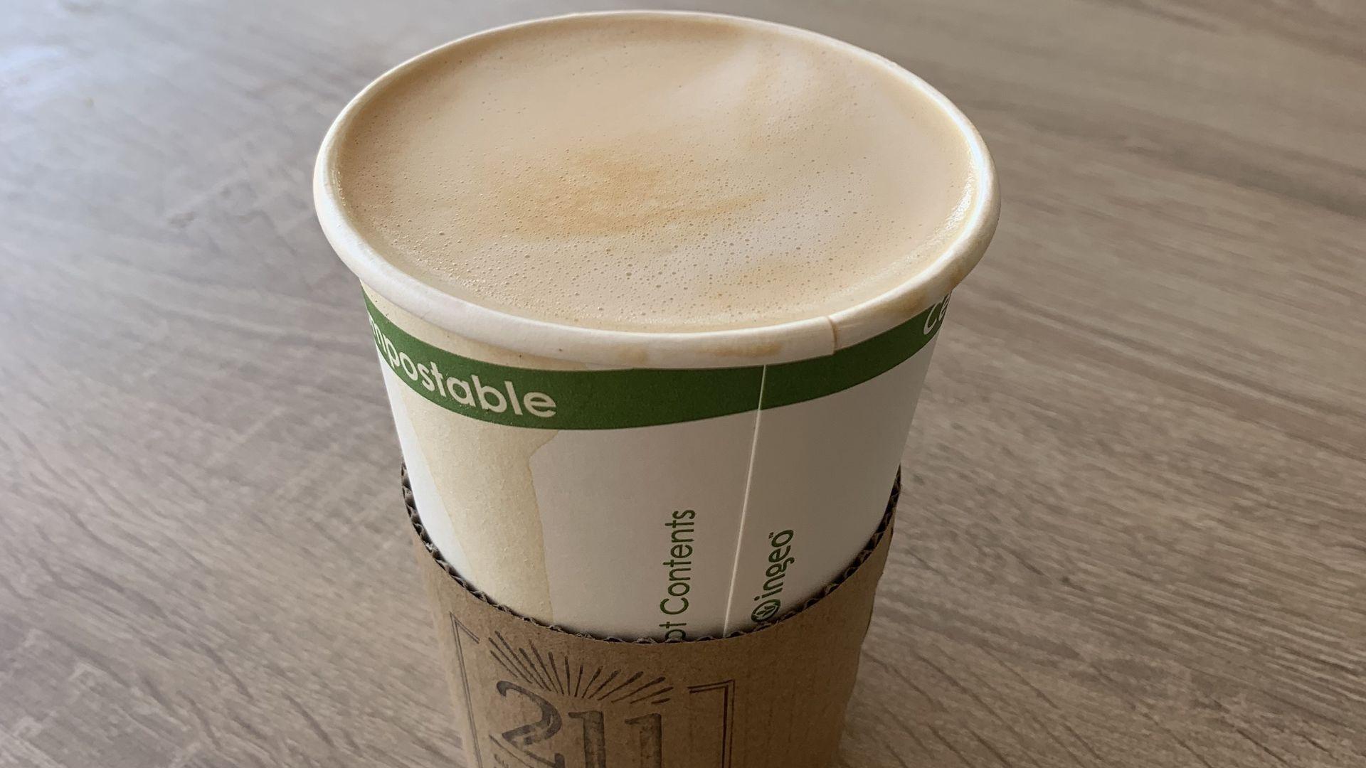 An oat milk latte