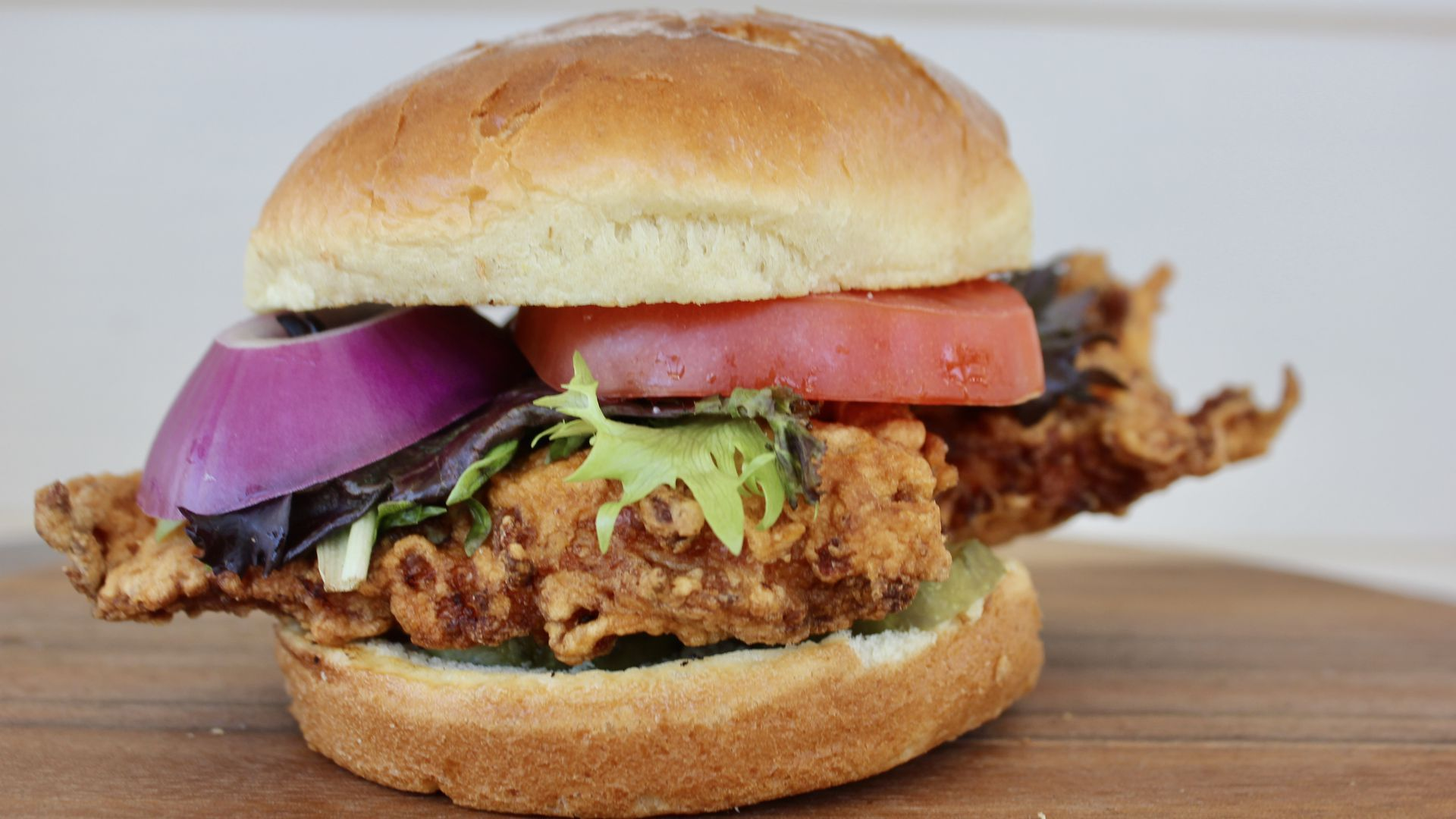A fried chicken sandwich from Angry Goldfish in Des Moines