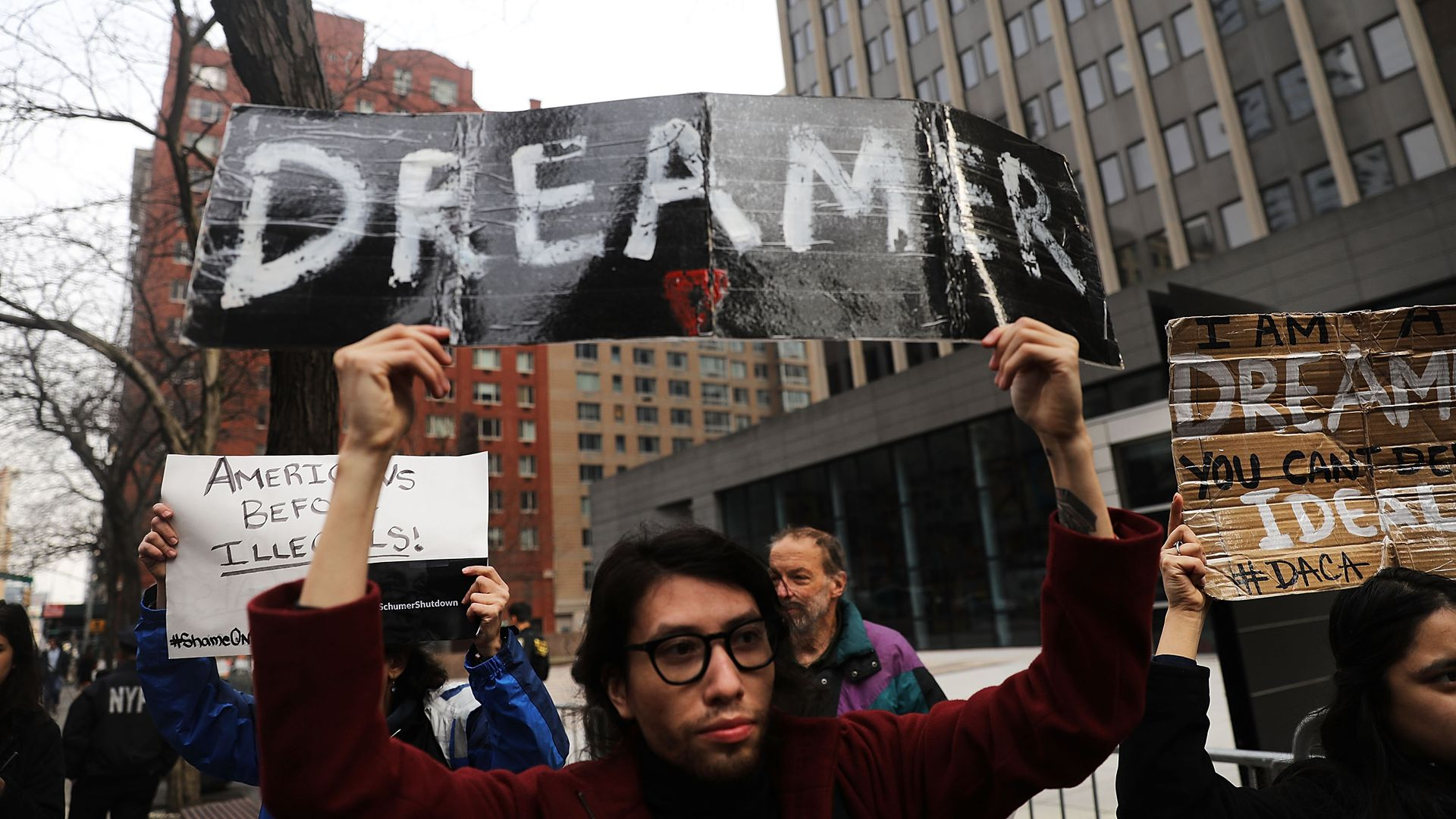Demonstrator at a pro-immigration rally in New York City.