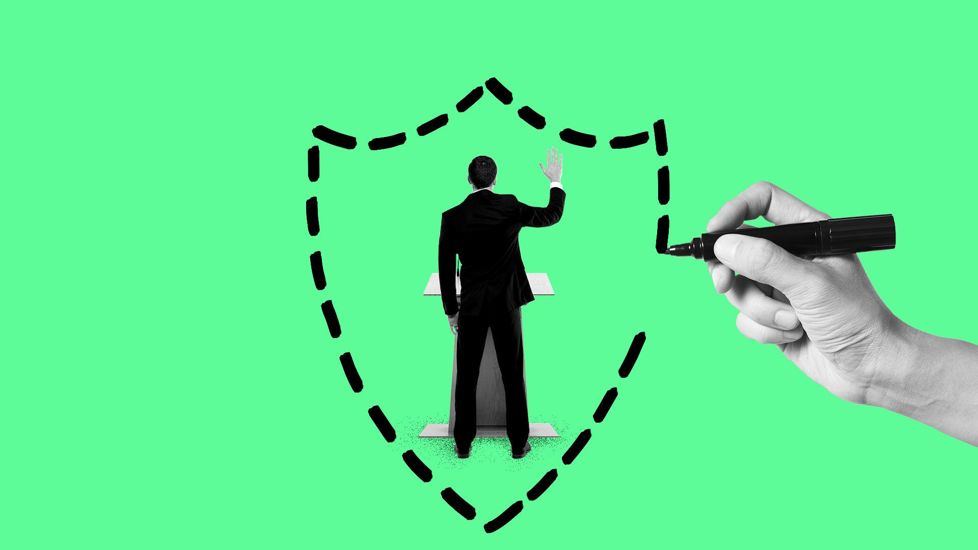 Illustration of a hand drawing a shield shape around a candidate behind a podium.