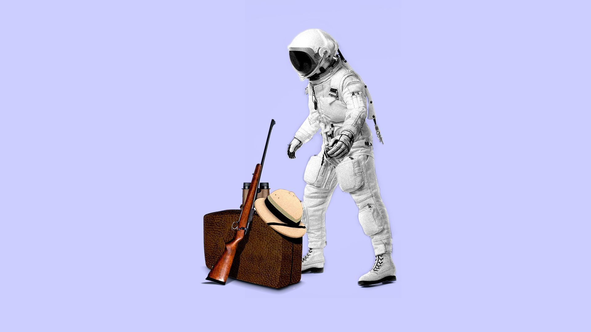 Illustration of an astronaut looking over a pith hat, binoculars and a rifle.