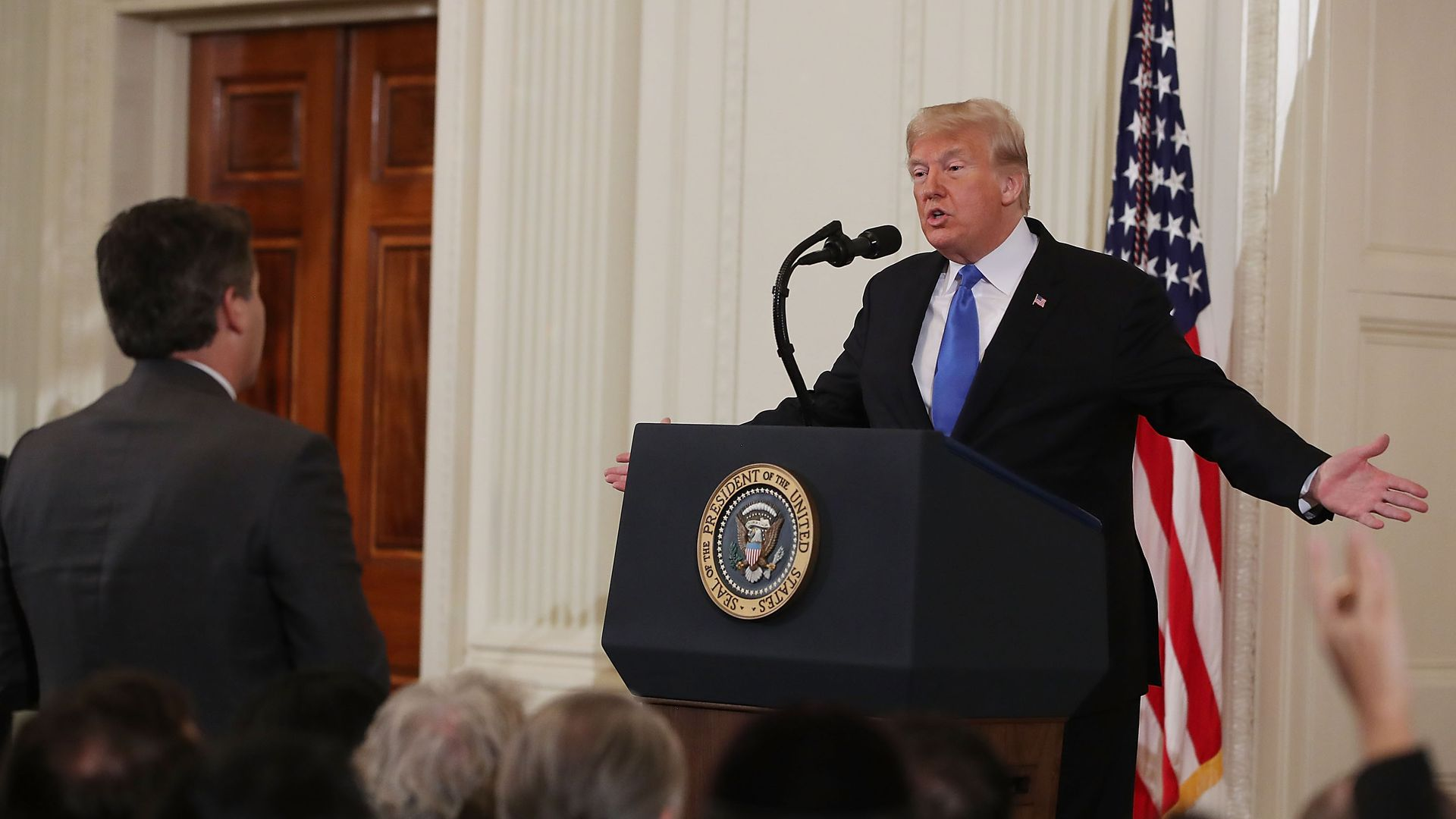 President Trump spars with Jim Acosta at a press conference last week