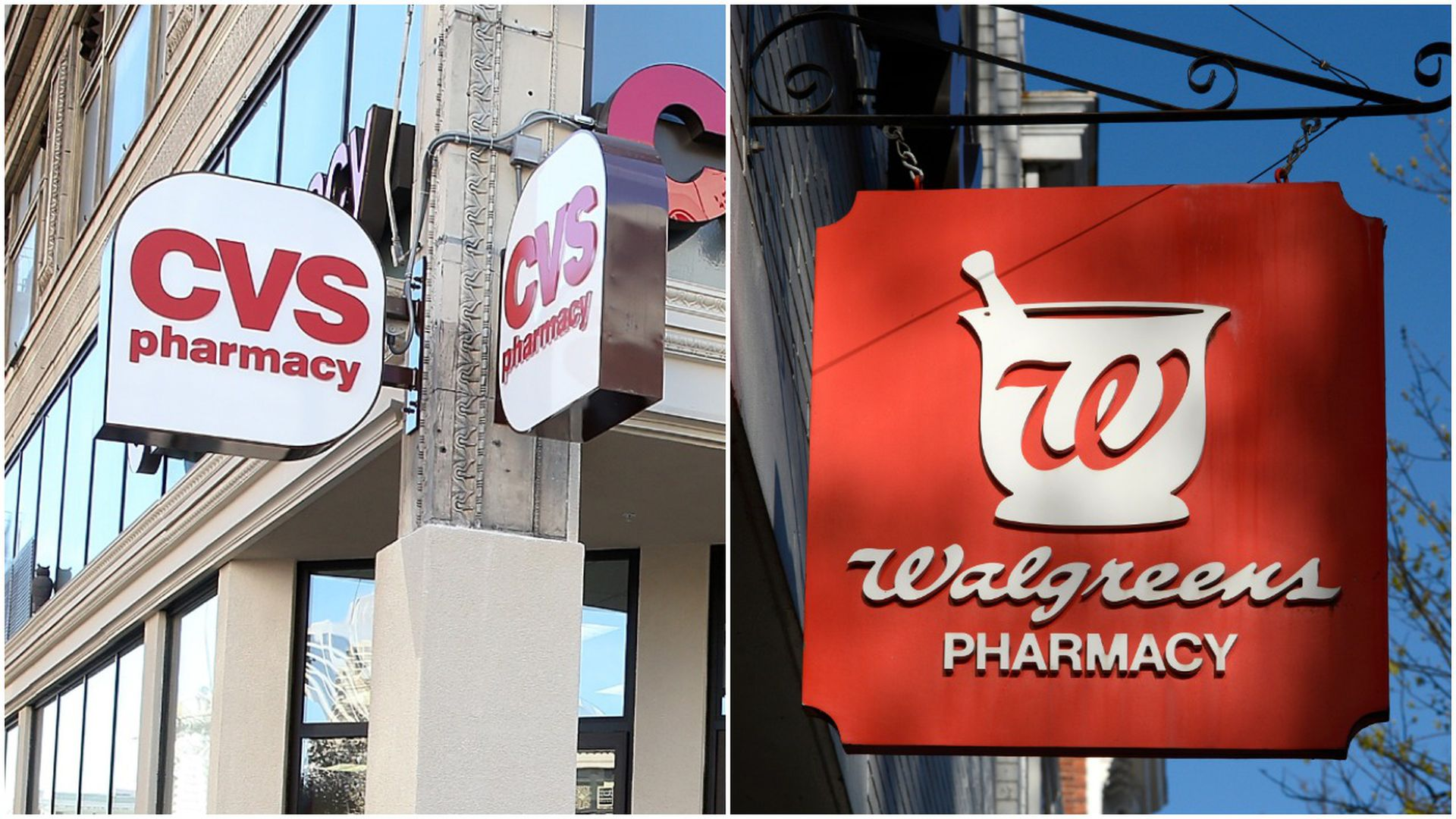 Edited photo of CVS and Walgreens pharmacy signs