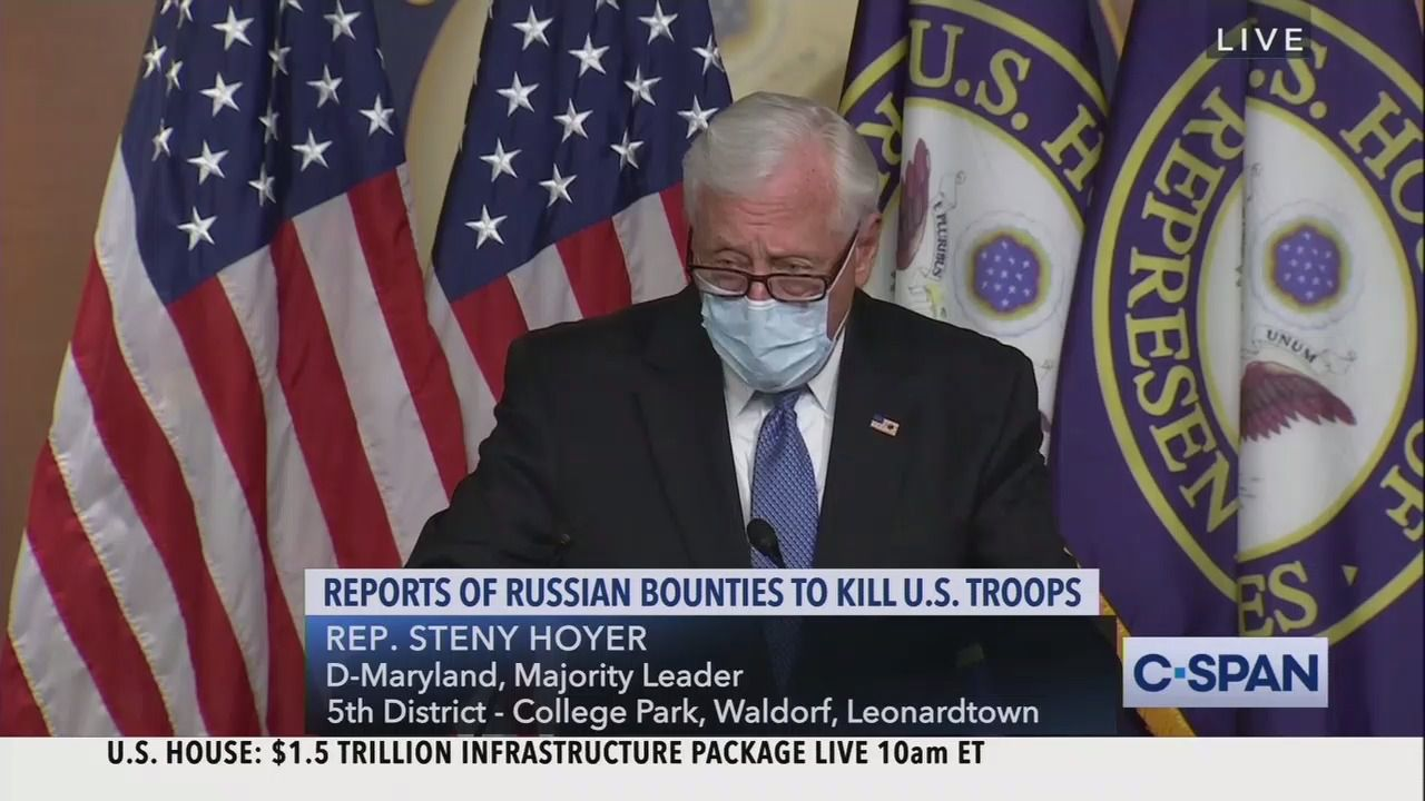 """Top House Democrats say intel briefing showed Russia bounty allegations are not a """"hoax"""" thumbnail"""