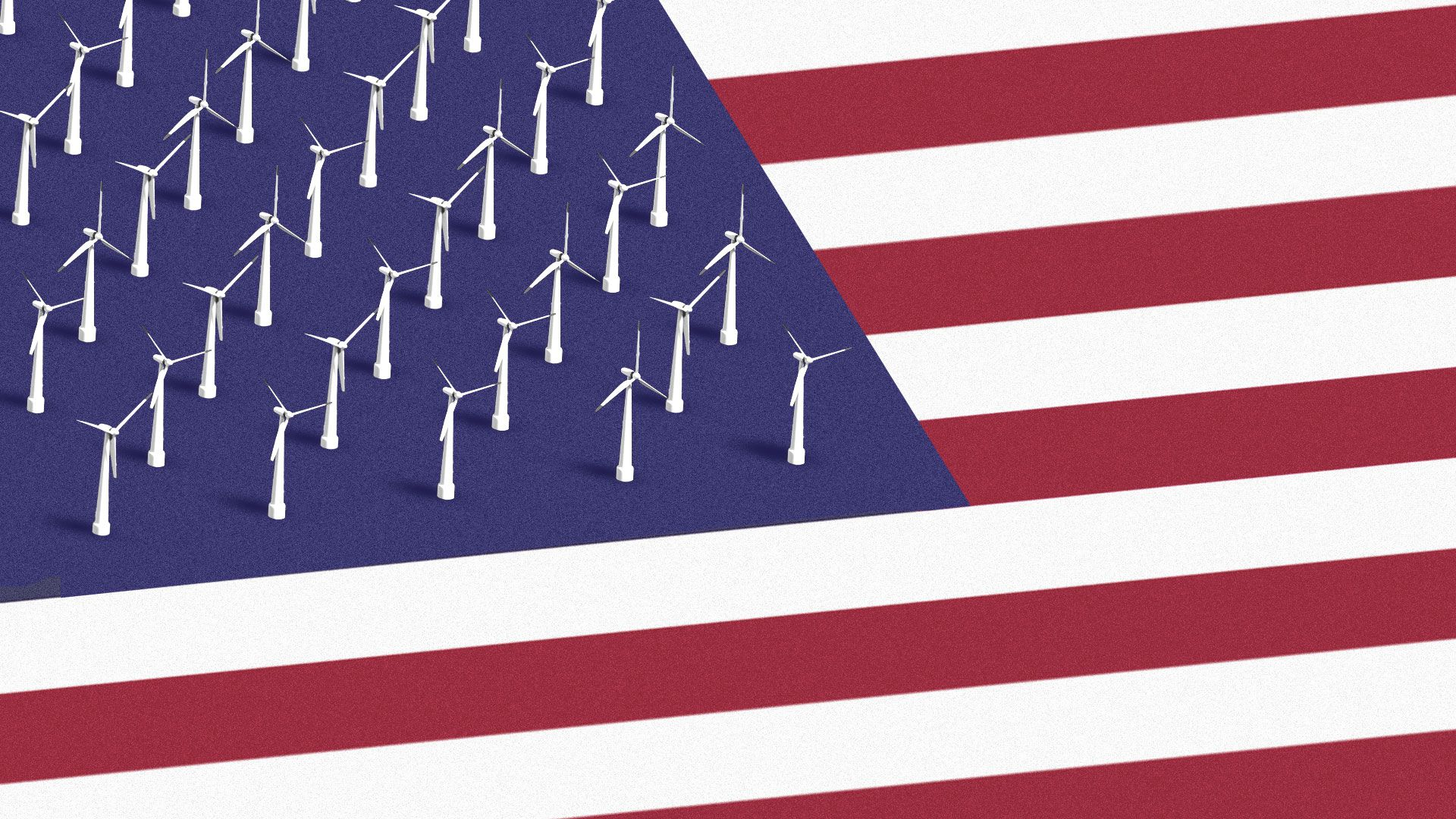 The stars in the U.S. flag replaced by offshore wind turbines