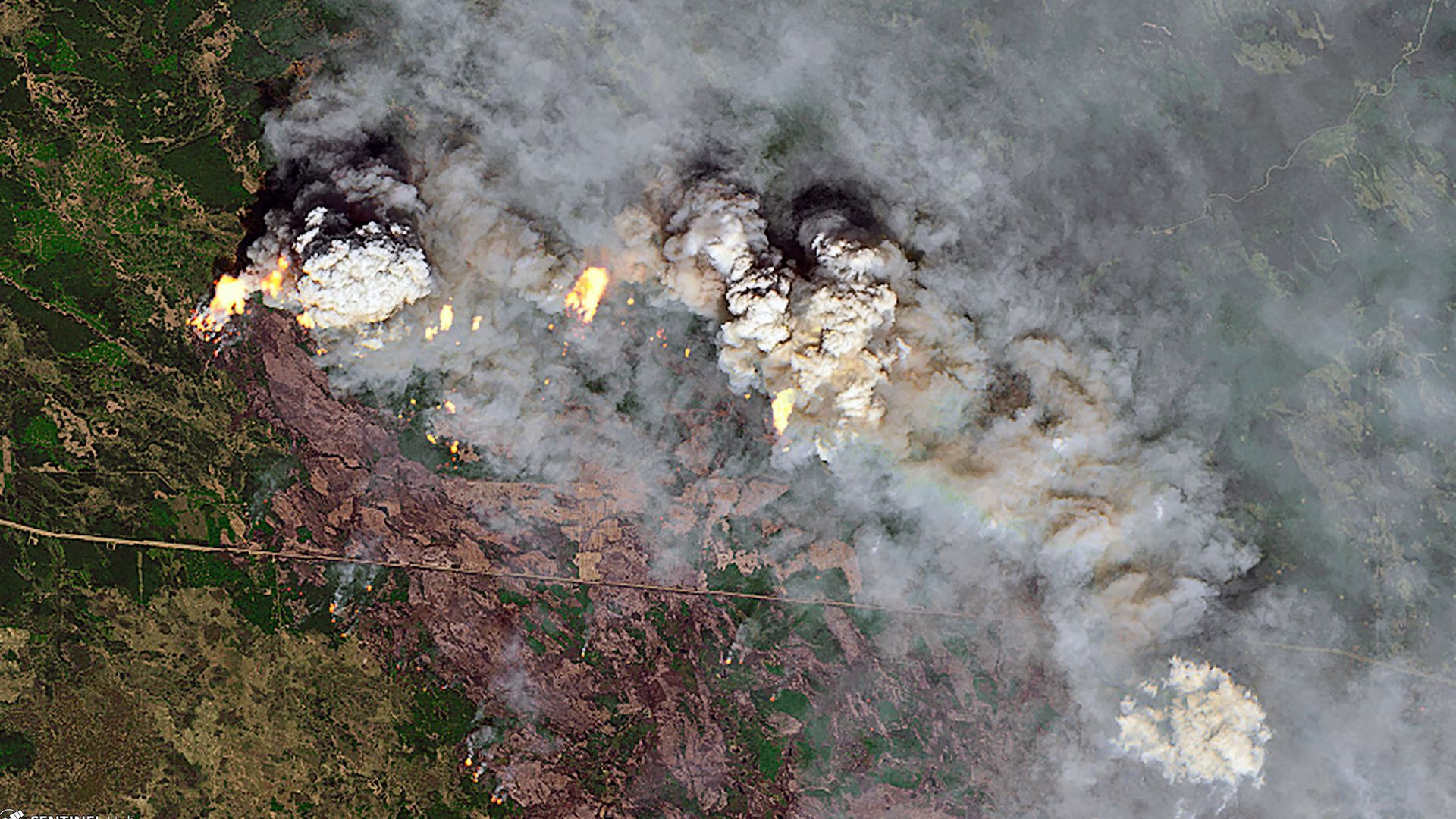 Pyrocumulus clouds from Alberta wildfires seen via satellite imagery.