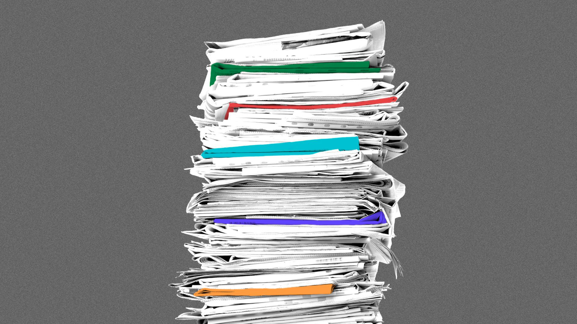 Illustration of a stack of newspapers, with some of them tinted different colors.