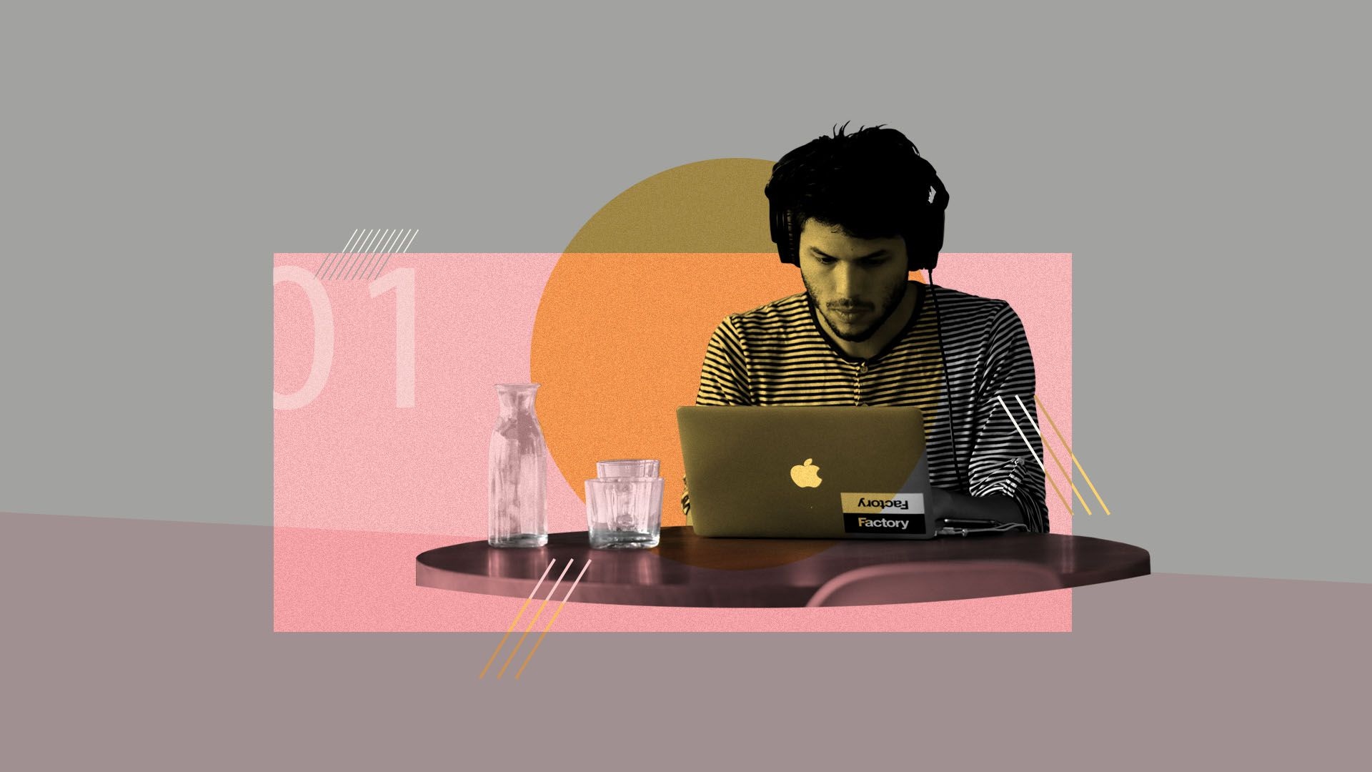 Illustration of a person working at a desk