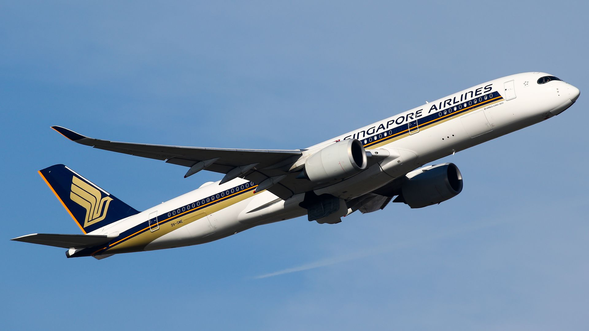 Singapore airlines flight taking off