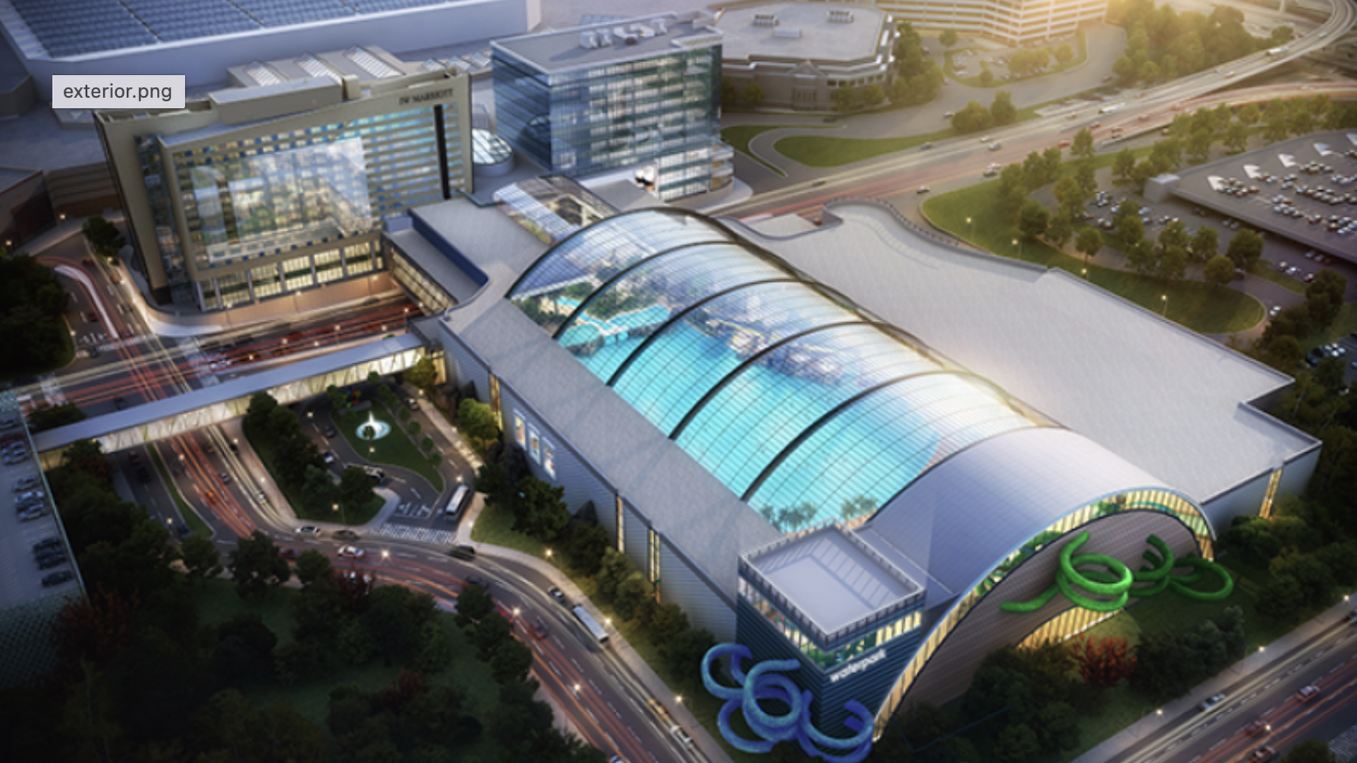 A rendering of the water park next to MOA with a clear roof
