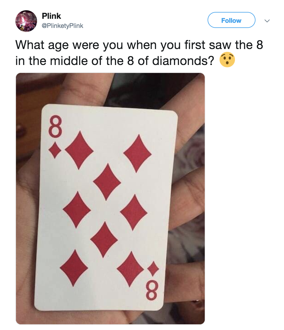 A tweet showing how the eight of diamonds card actually has an eight in the center if you look closely