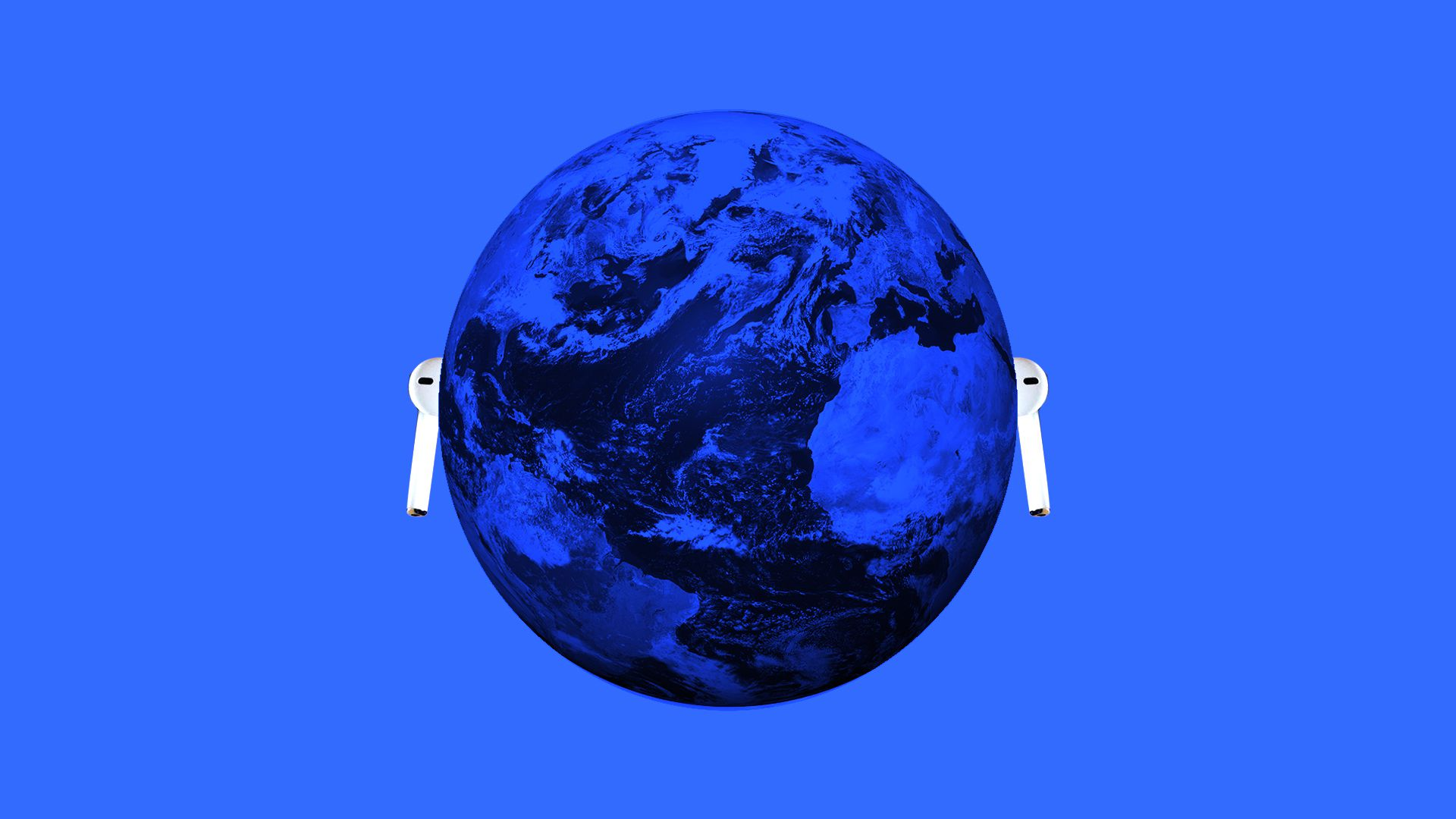 Illustration of the earth wearing airpods