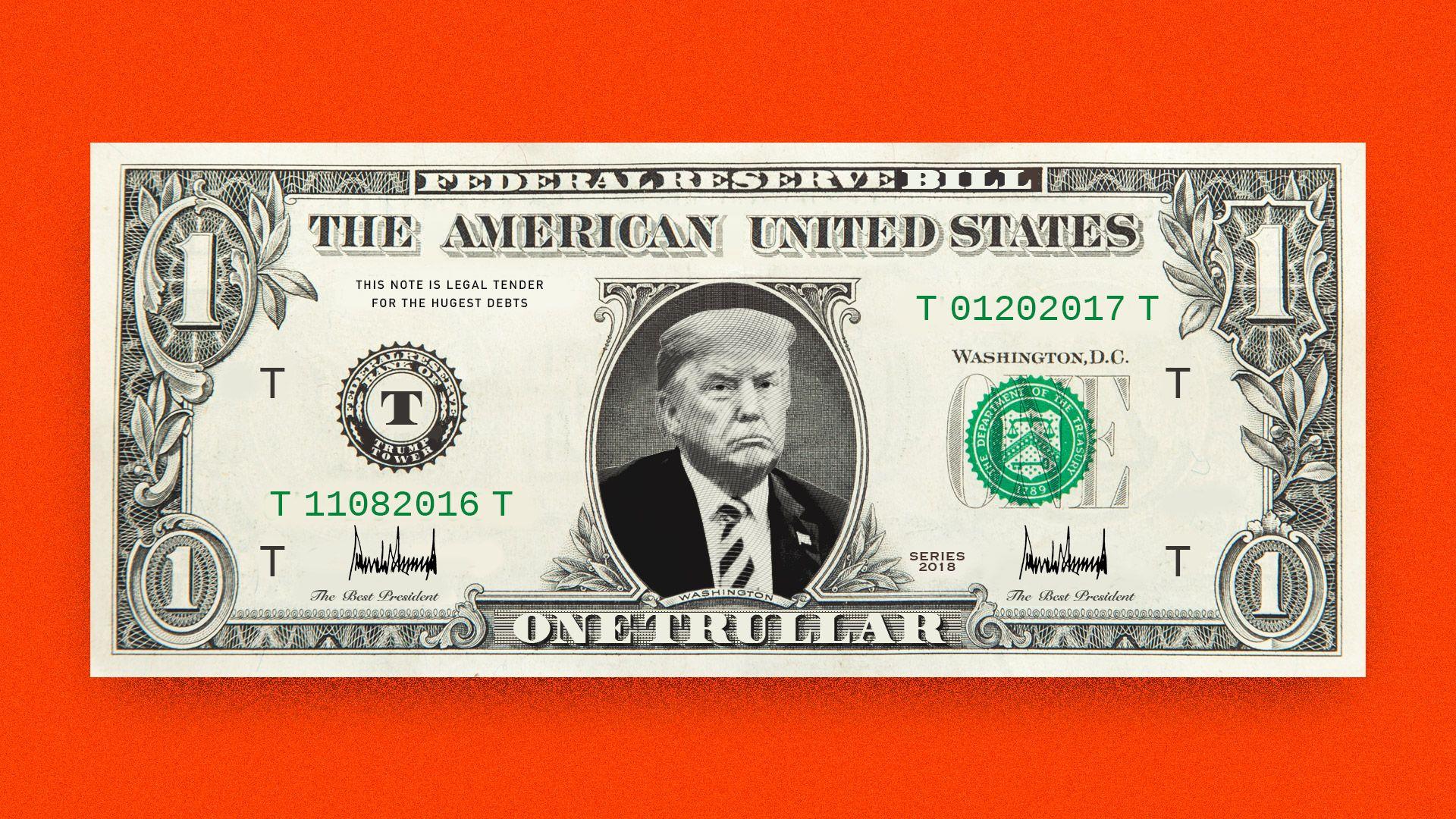 Trump on a trullar bill.