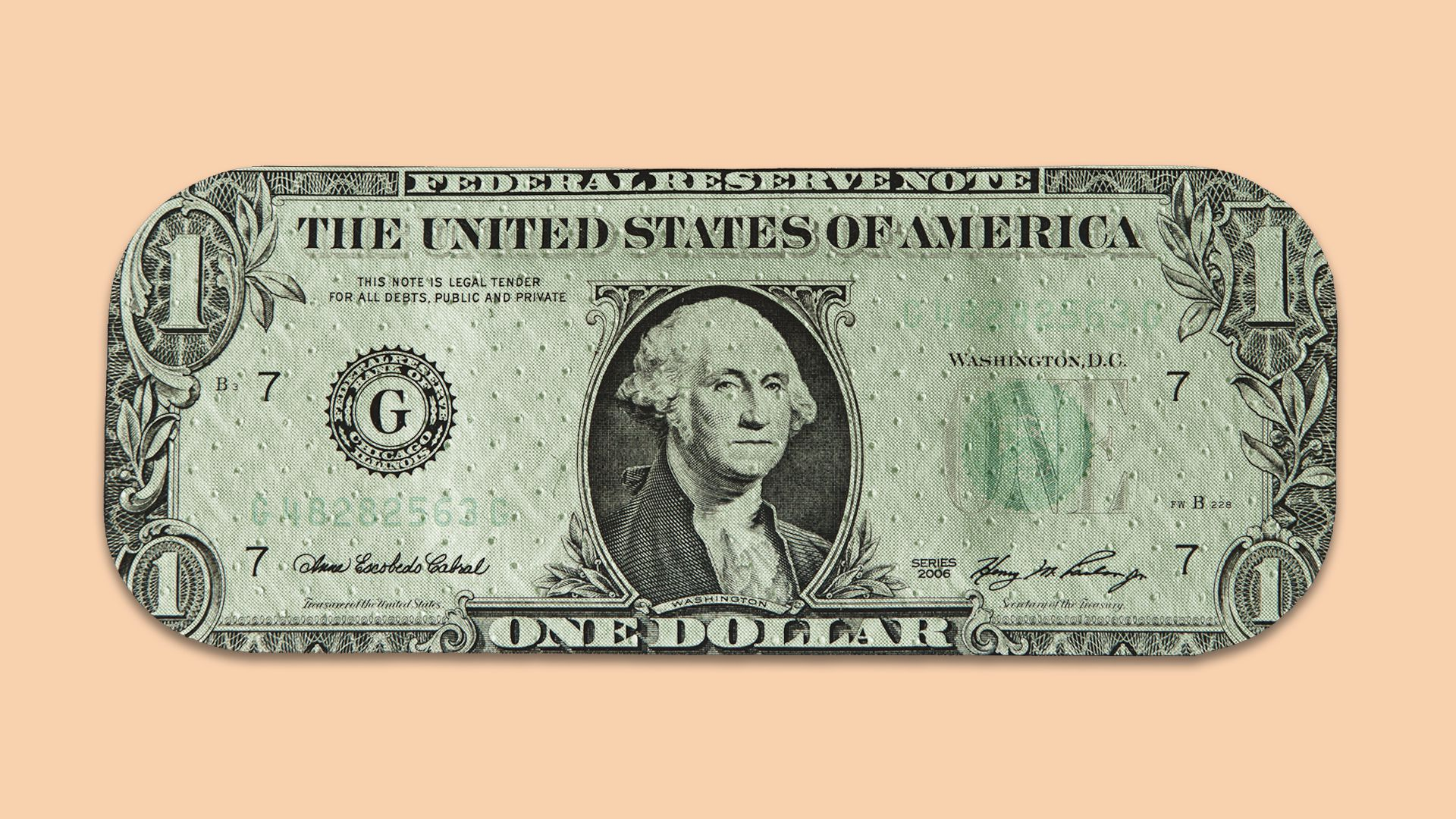 In this illustration, a dollar bill is shaped and textured like a Band-Aid.
