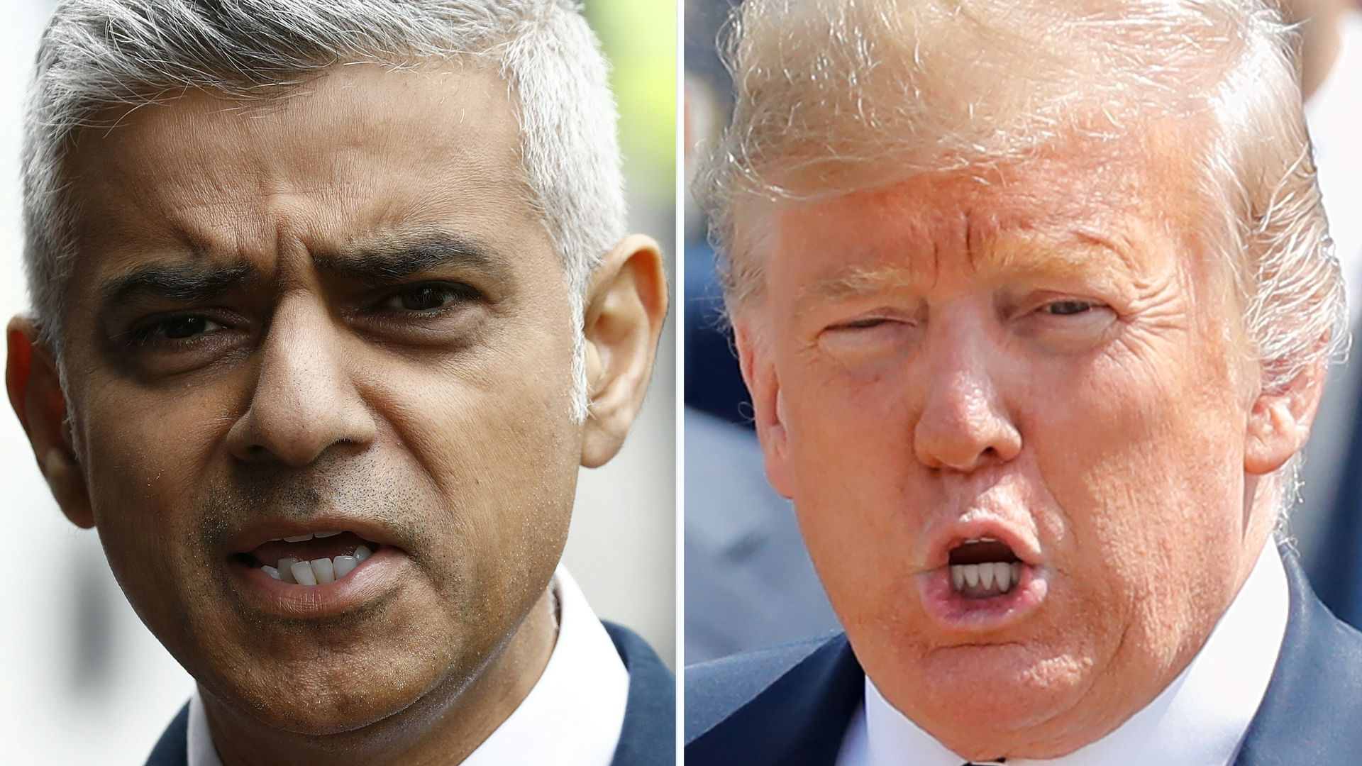 This combination of files pictures created in Londno on July 13, 2018 shows Mayor of London Sadiq Khan (L).