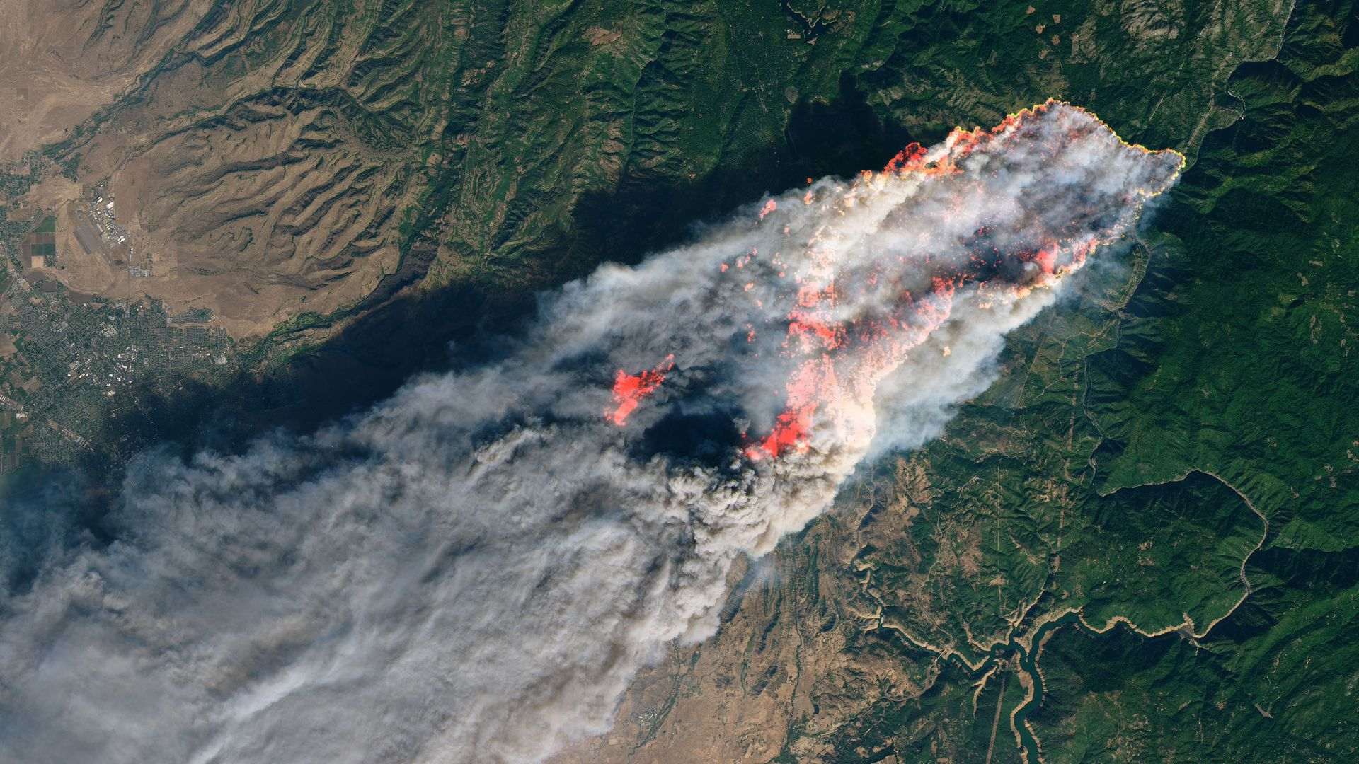 Aerial view of wildfire in paradise, california