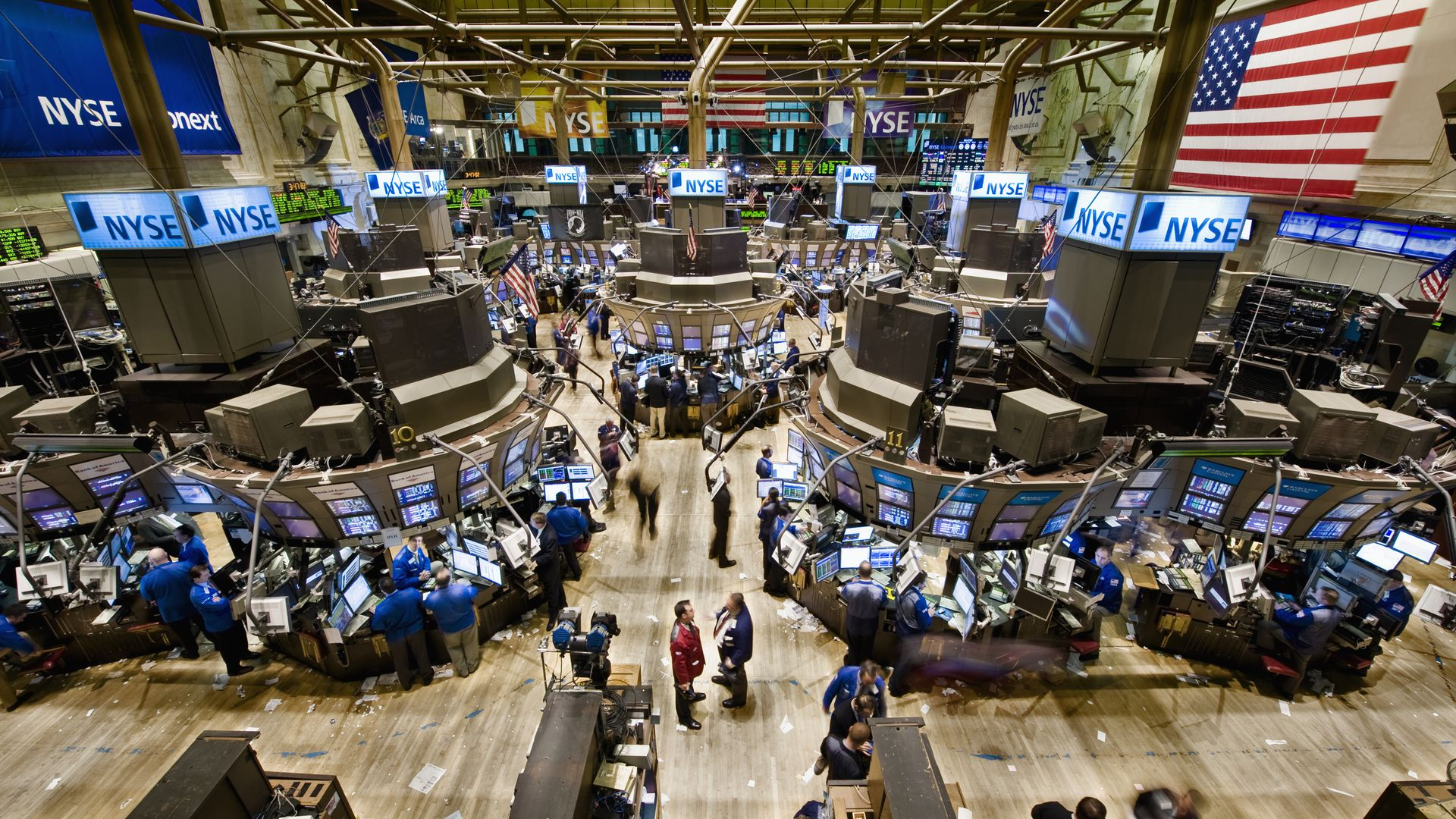 An aerial view of the New York Stock Exchange's trading floor.
