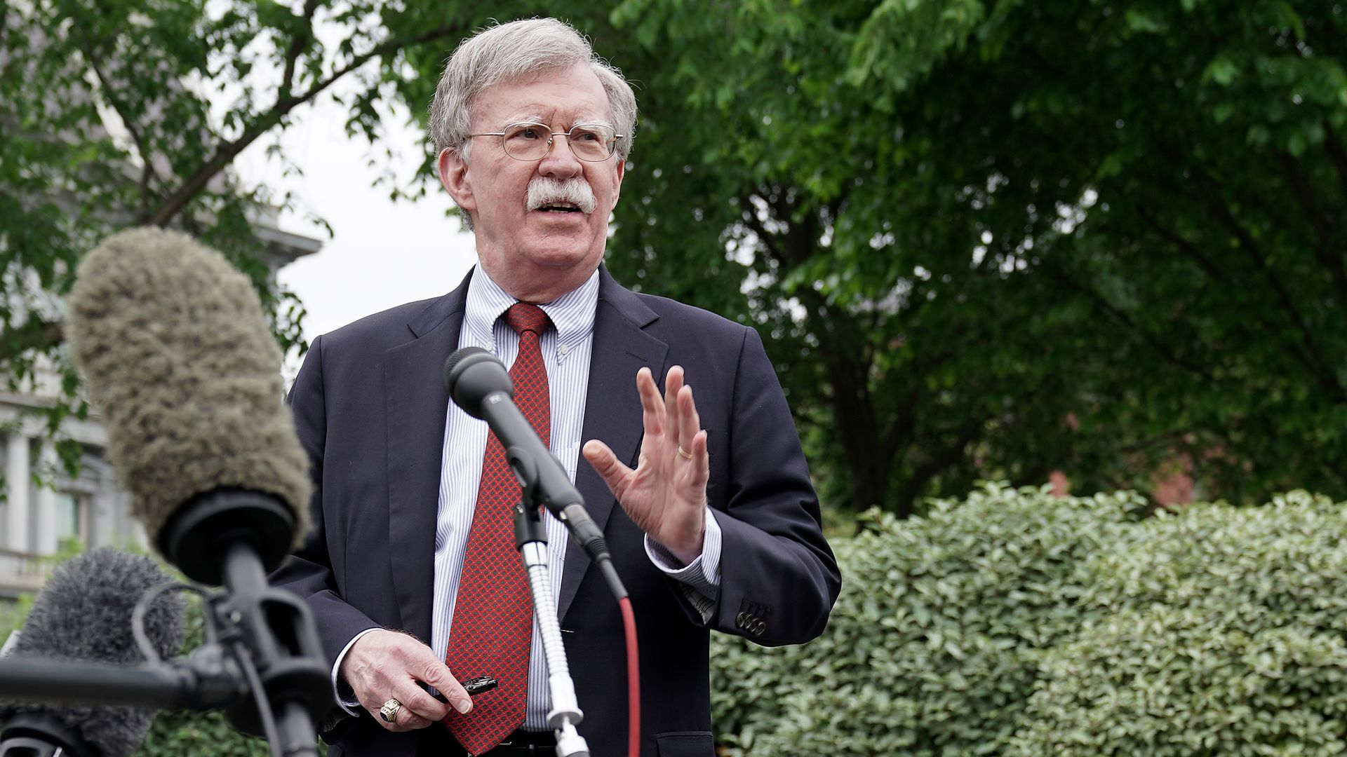 White House National Security Advisor John Bolton talks to reporters in Washington, DC.