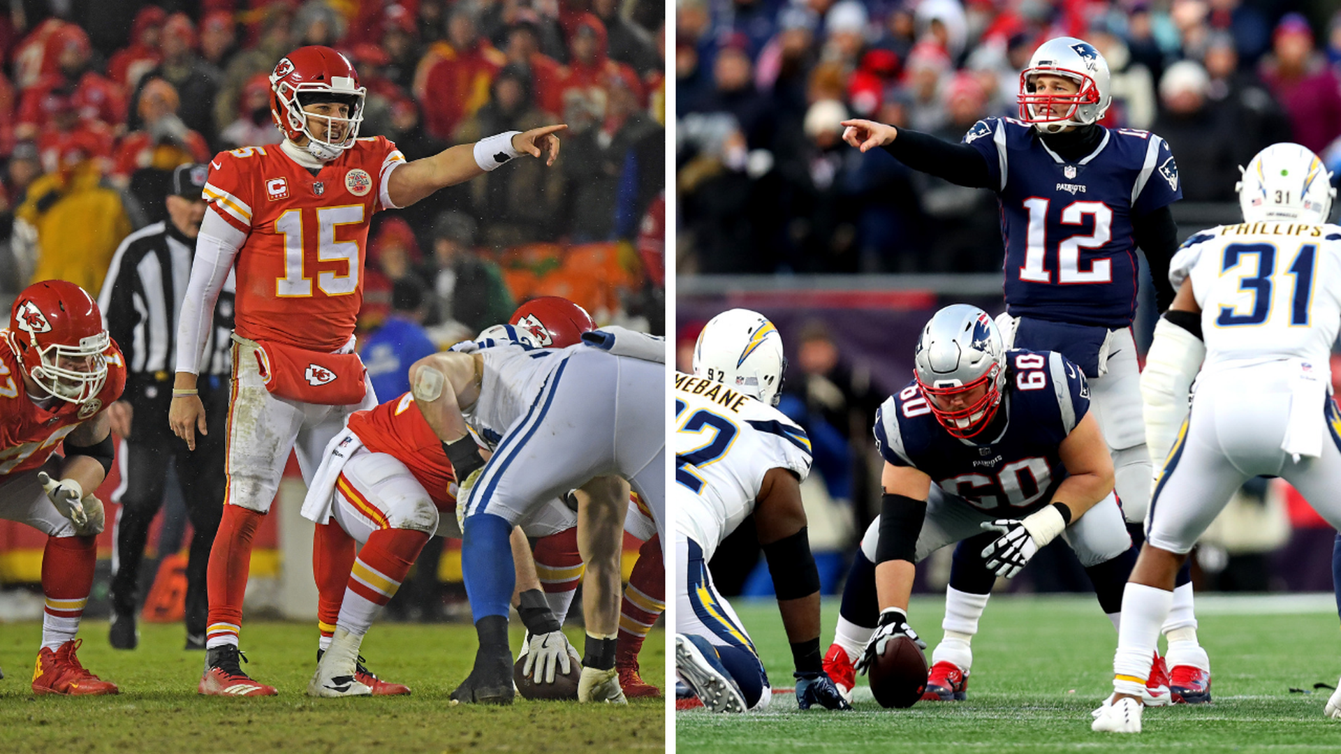 Pat Mahomes and Tom Brady side-by-side