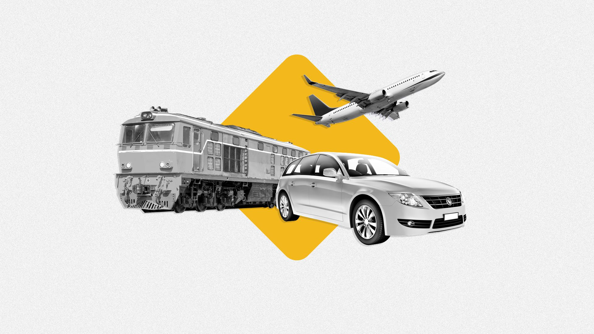 Photo illustration of train, plane, and a car. Caution sign behind the vehicles.