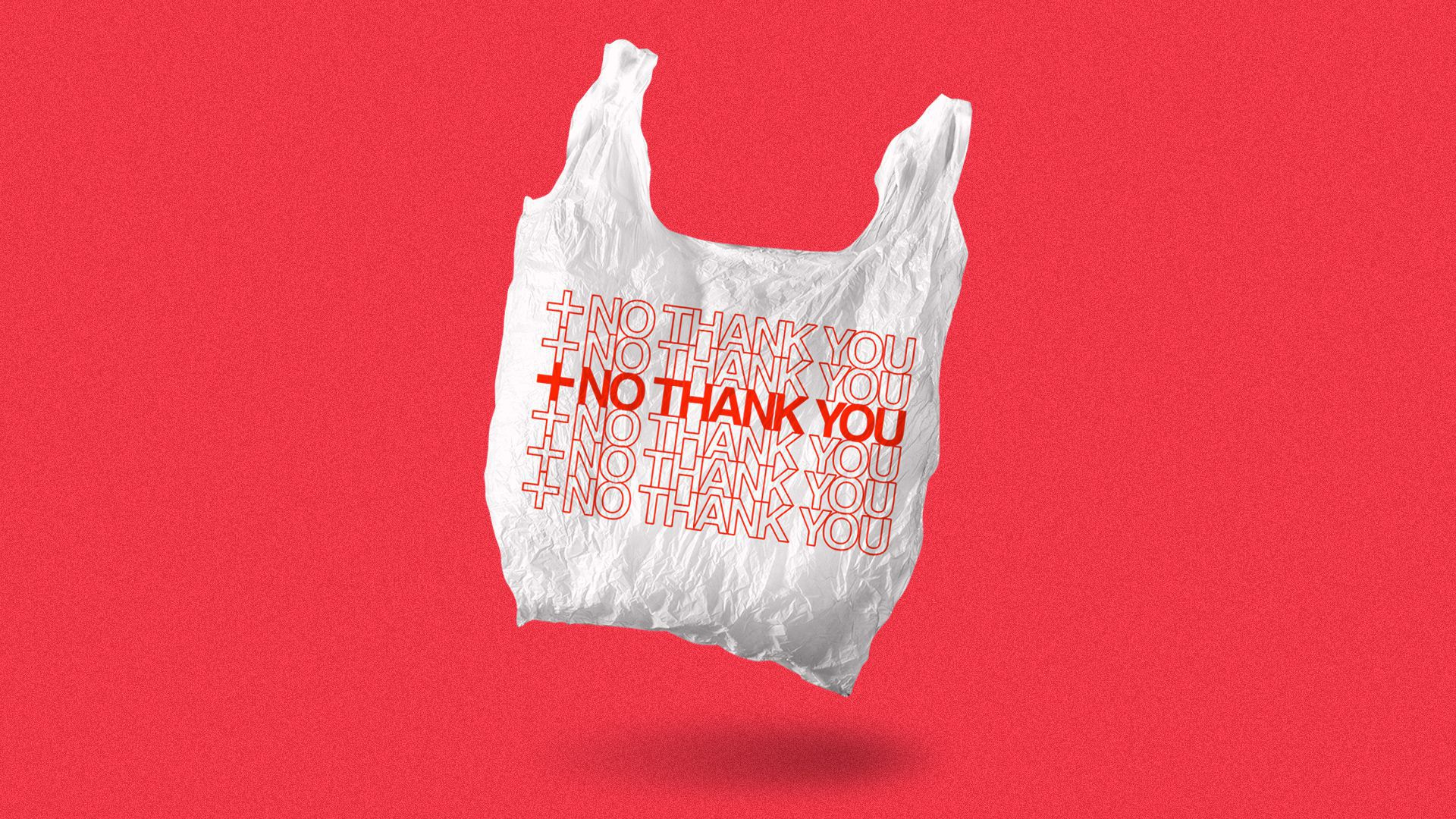 """Illustration of a plastic bag with """"NO THANK YOU"""" printed multiple times on it alongside a health plus."""