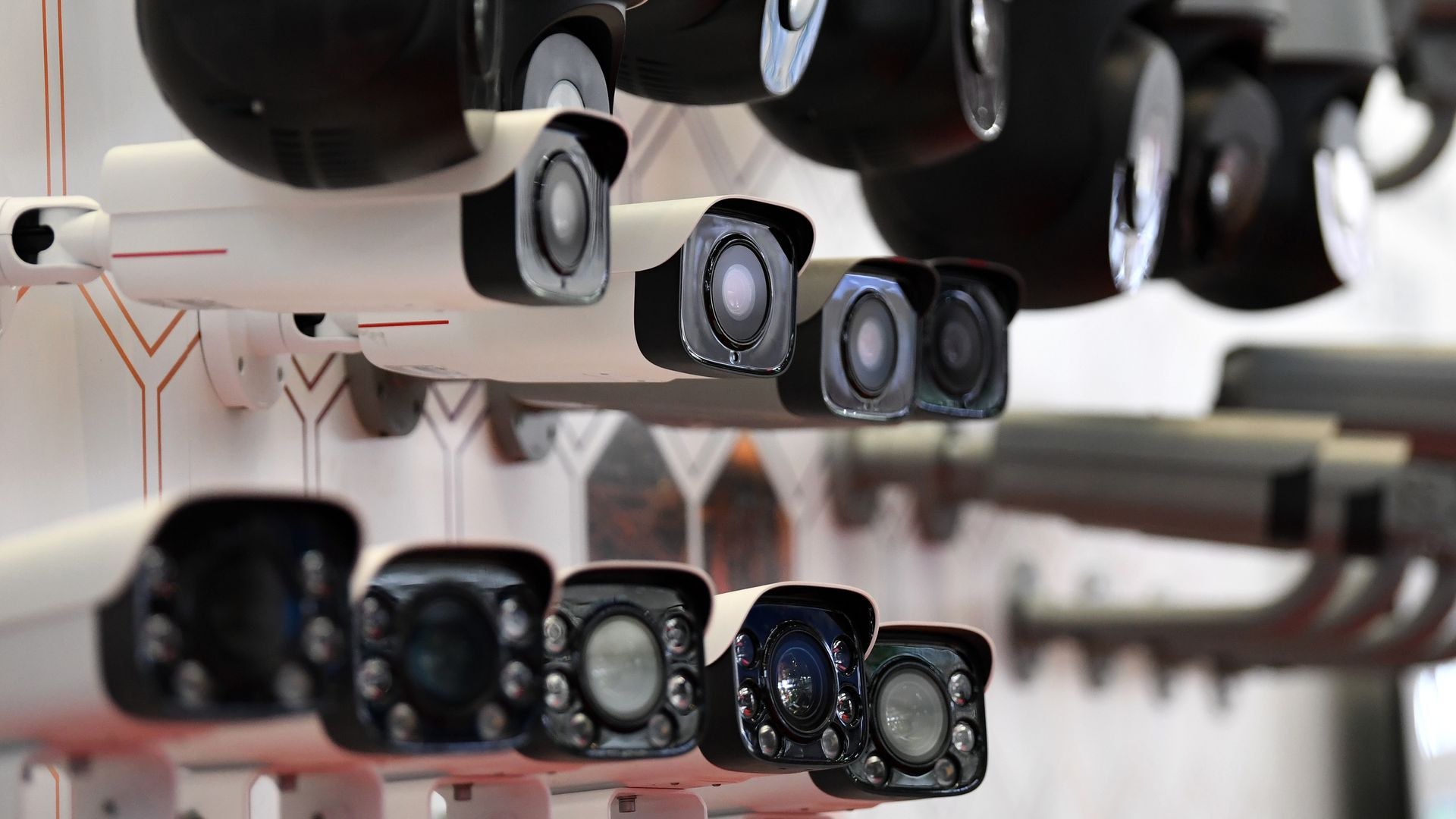 This image is a line of several security cameras.