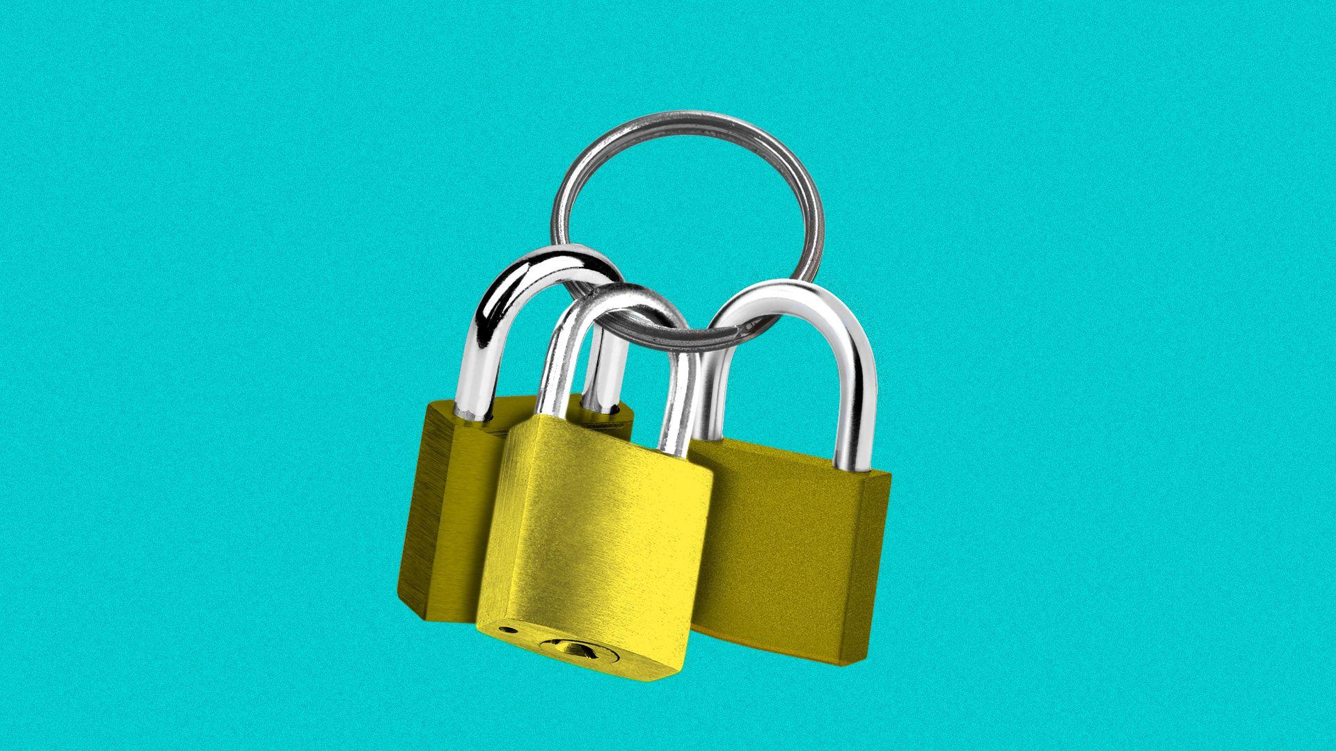 Illustration of a keyring with padlocks.