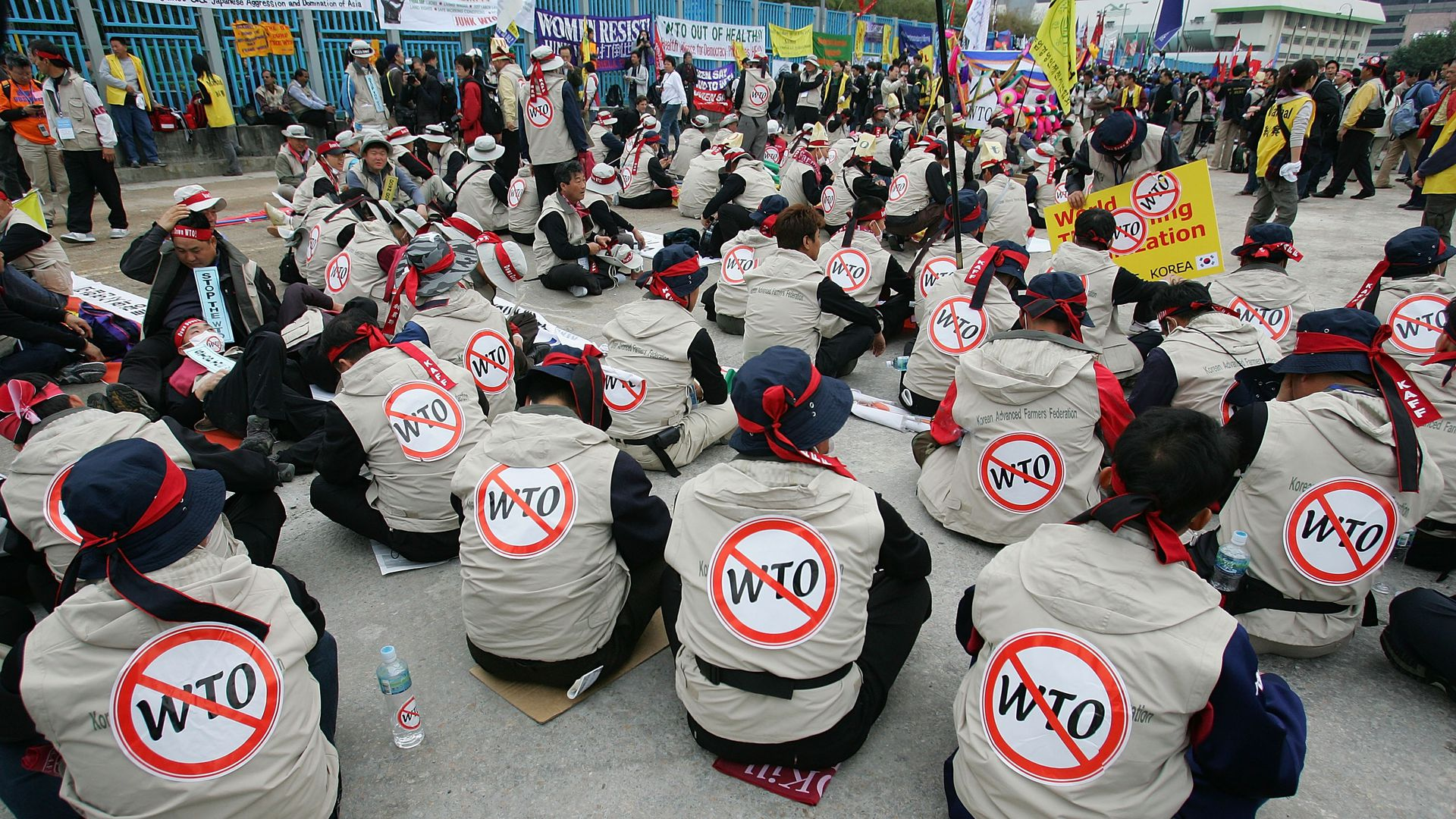 South Korean farmers protest against the sixth World Trade Organisation (WTO) Ministerial Conference December 13, 2005 in Hong Kong.