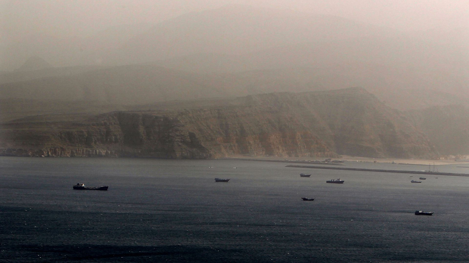 Ships in the strait of Hormuz