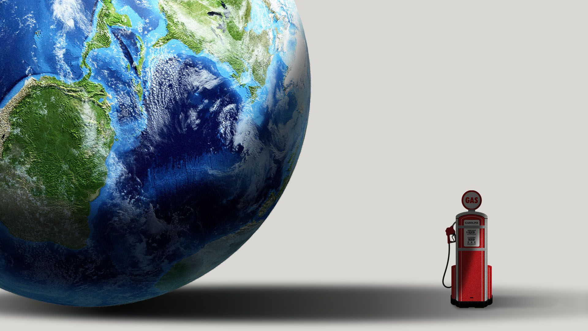 Illustration of a large globe casting a long shadow over a small gas pump.