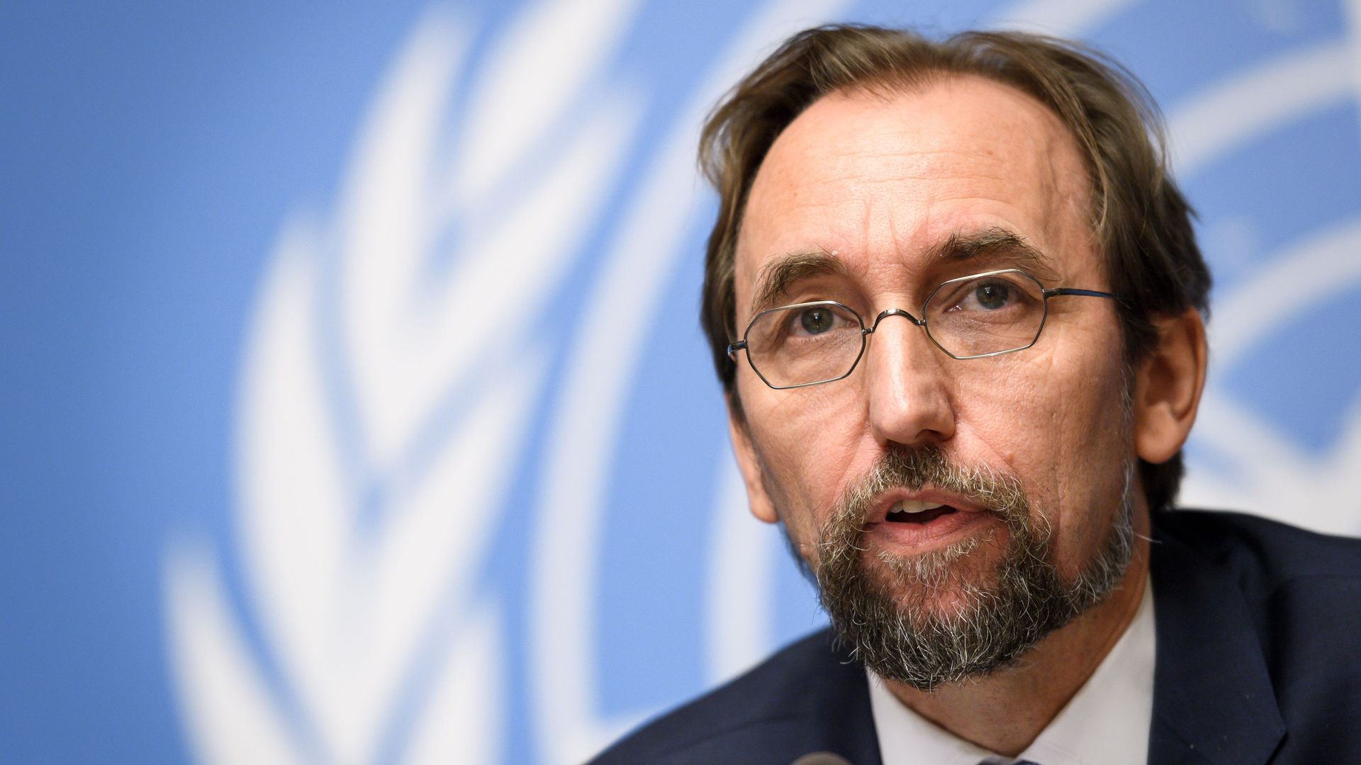 United Nations High Commissioner for Human Rights Zeid Ra'ad Al Hussein speaking during a press conference at the UN Offices in Geneva.
