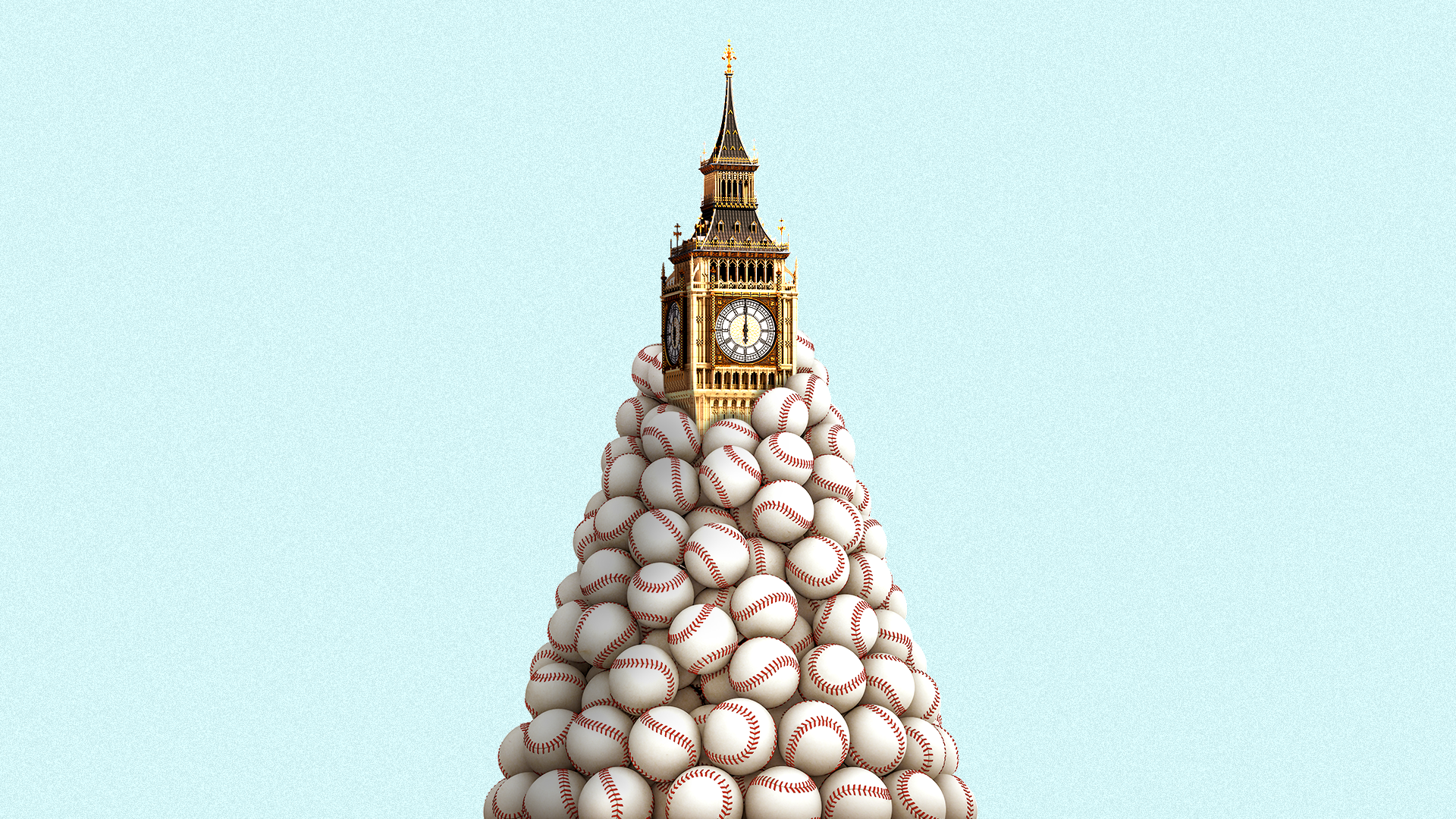 Big Ben engulfed by a mountain of baseballs