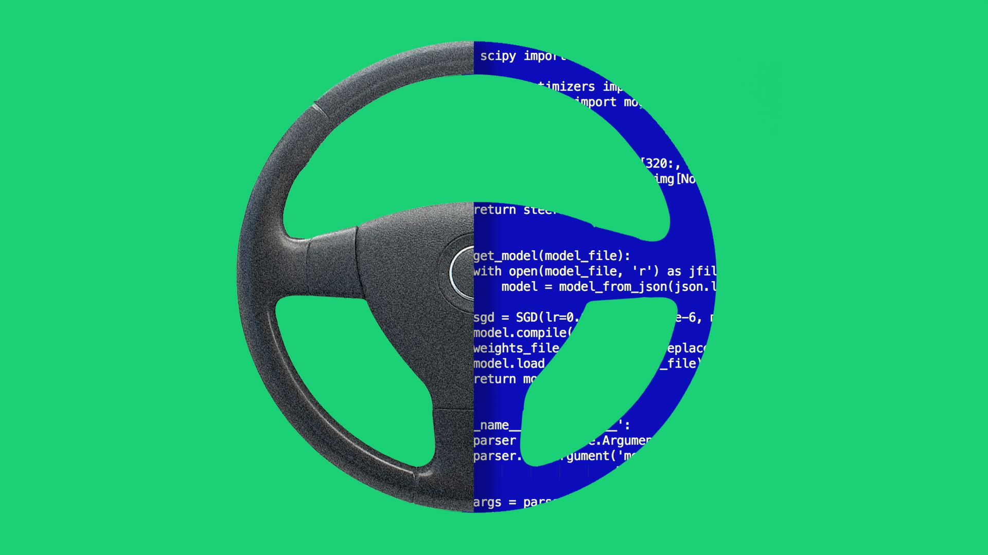A steering wheel split down the middle with half revealing lines of code