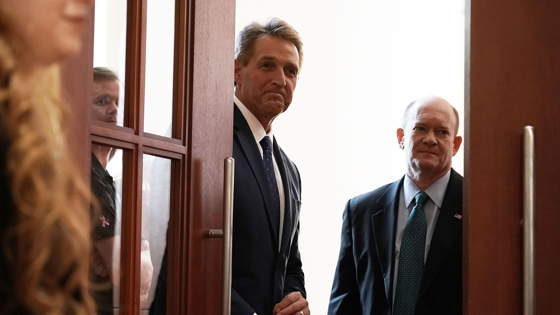 Senators Jeff Flake (R-Ariz.)  Chris Coons (D-De.) Photo: Alex Wong/Getty Images