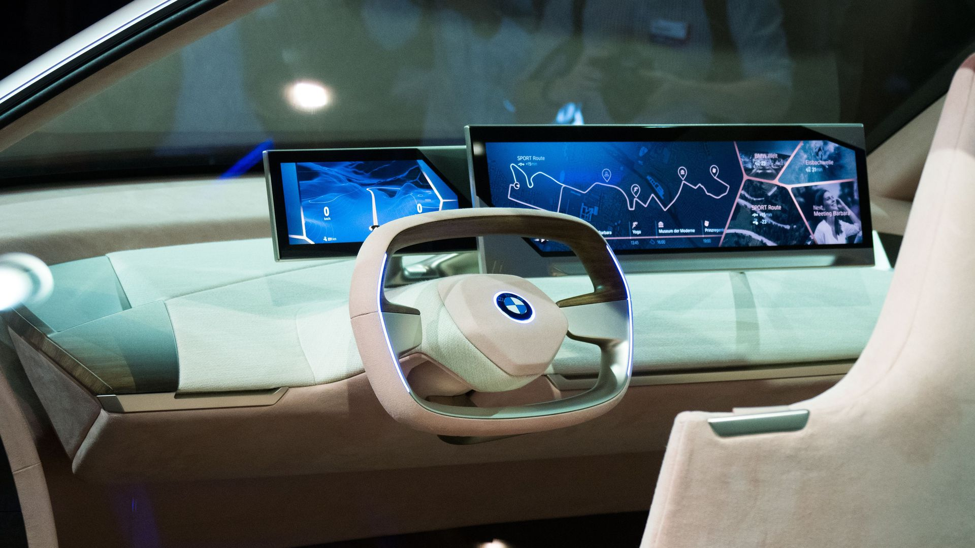 The steering wheel and display inside the BMW Vision iNEXT are unveiled at a special event ahead of the LA Auto Show, November 27, 2018 in Los Angeles.