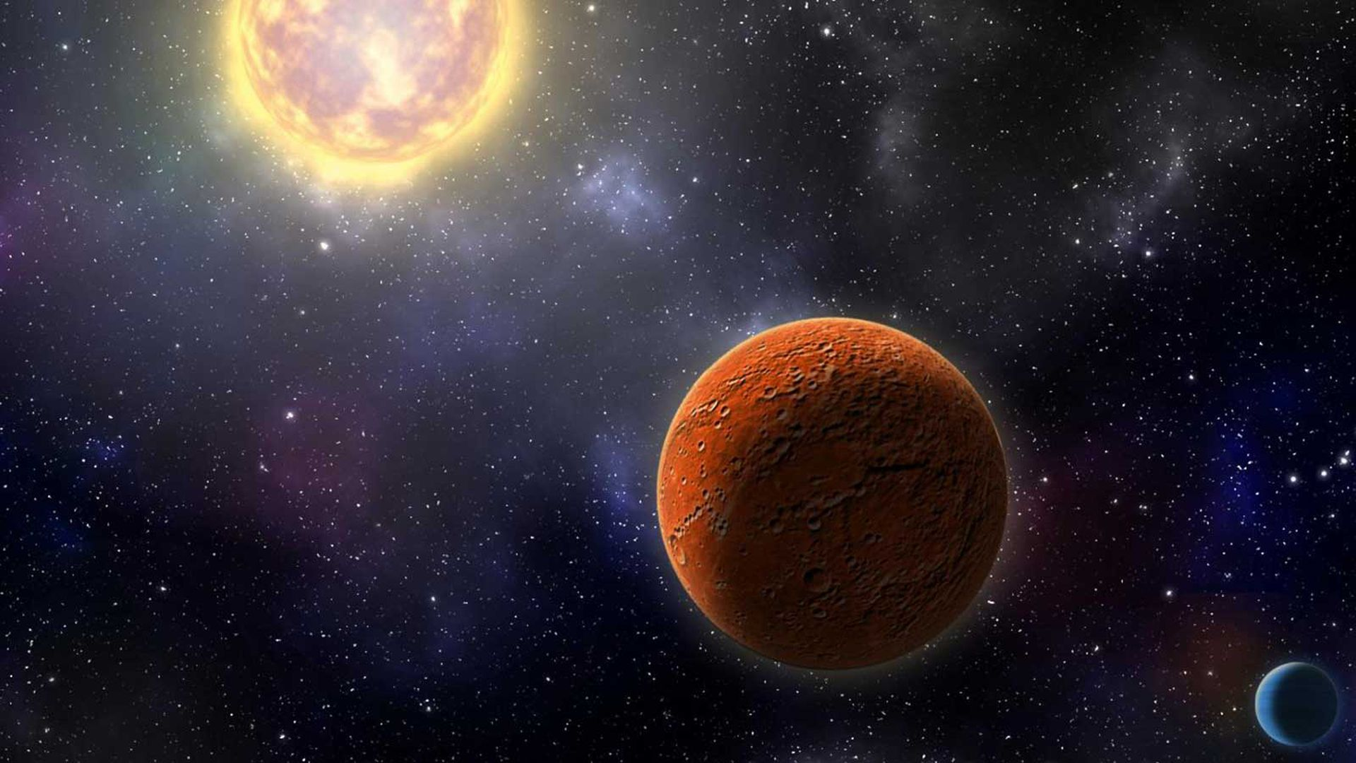 In this image, a red planet orbits a bright yellow sun.