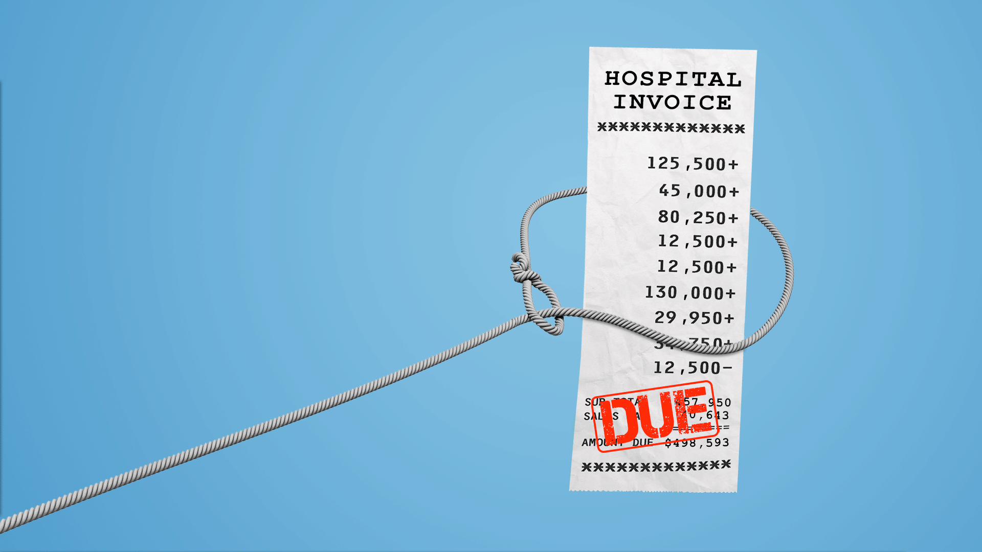 In this illustration, a lasso is pictured around a hospital a bill with a large INVOICE at the bottom of it.
