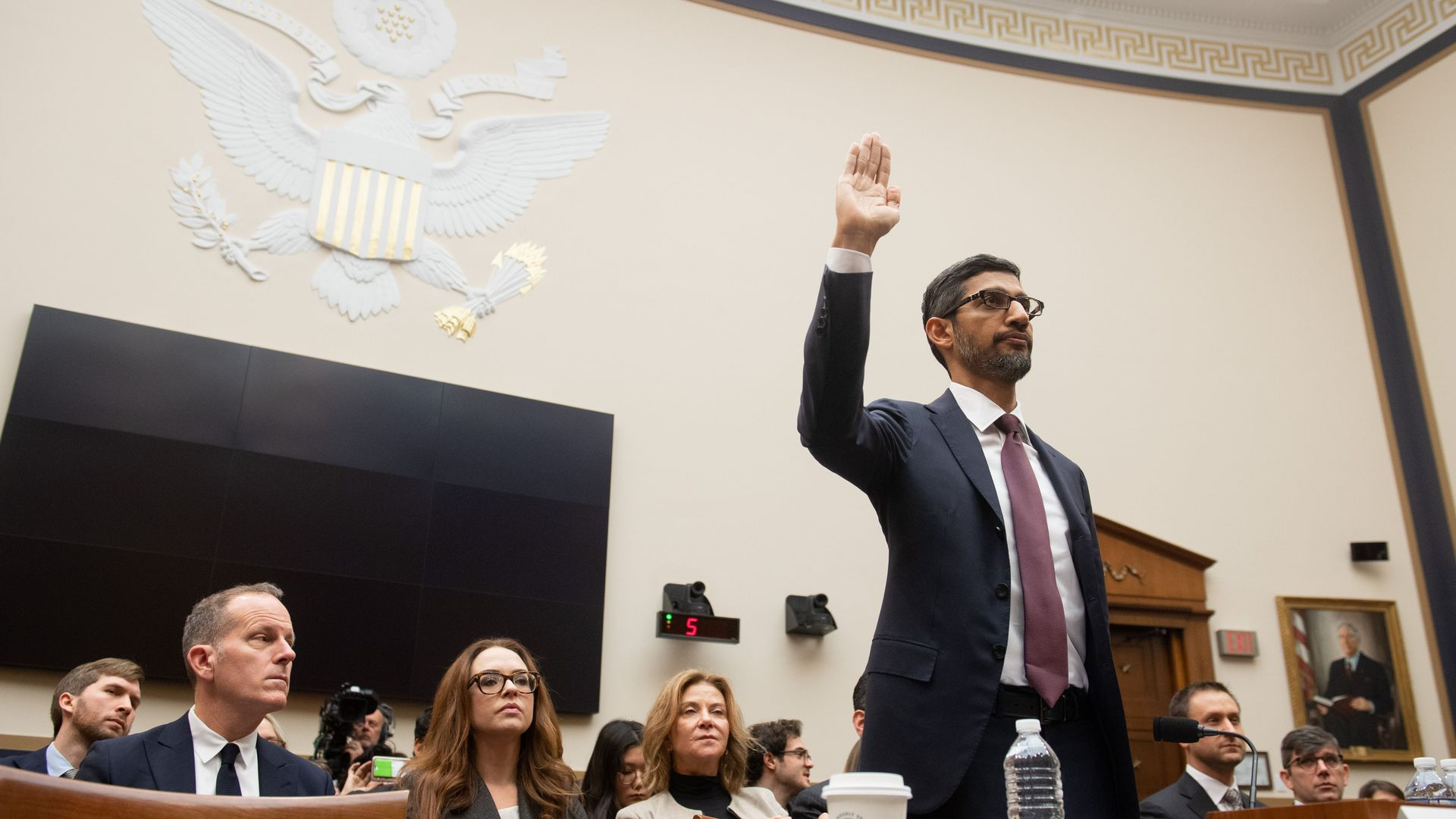 Sundar Pichai, Google CEO, swearing in for testimony before House Judiciary Committee