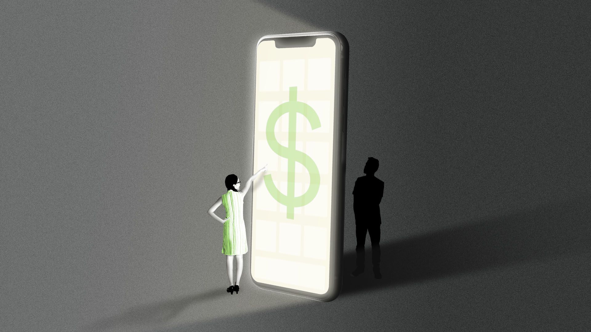 Illustration of a small person at a giant iphone screen with a dollar bill on it, and a person behind the iphone in the dark
