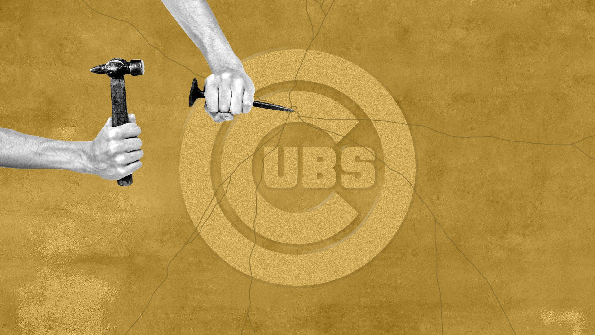 Illustration of a hand breaking apart a Cubs logo