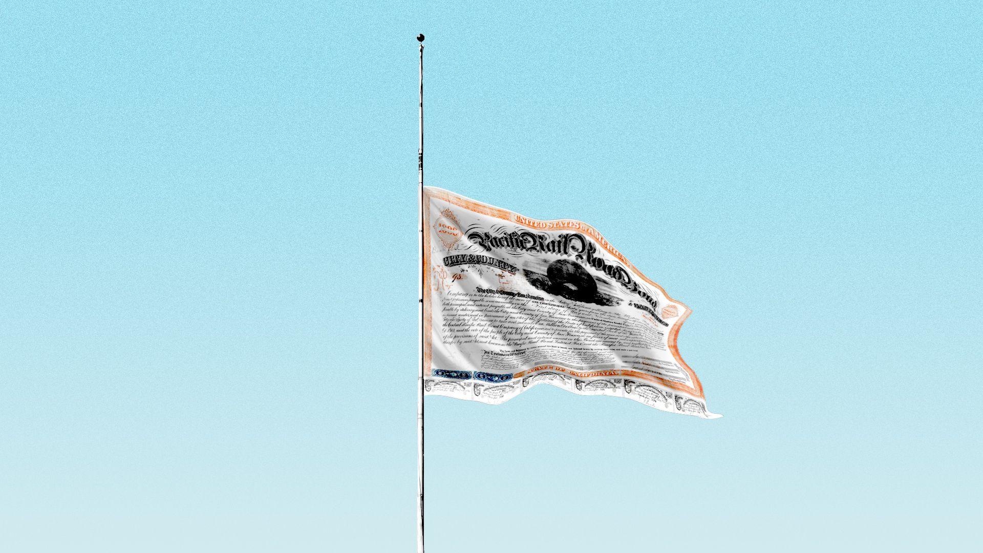 Illustration of a bond as a flag flying at half mast.