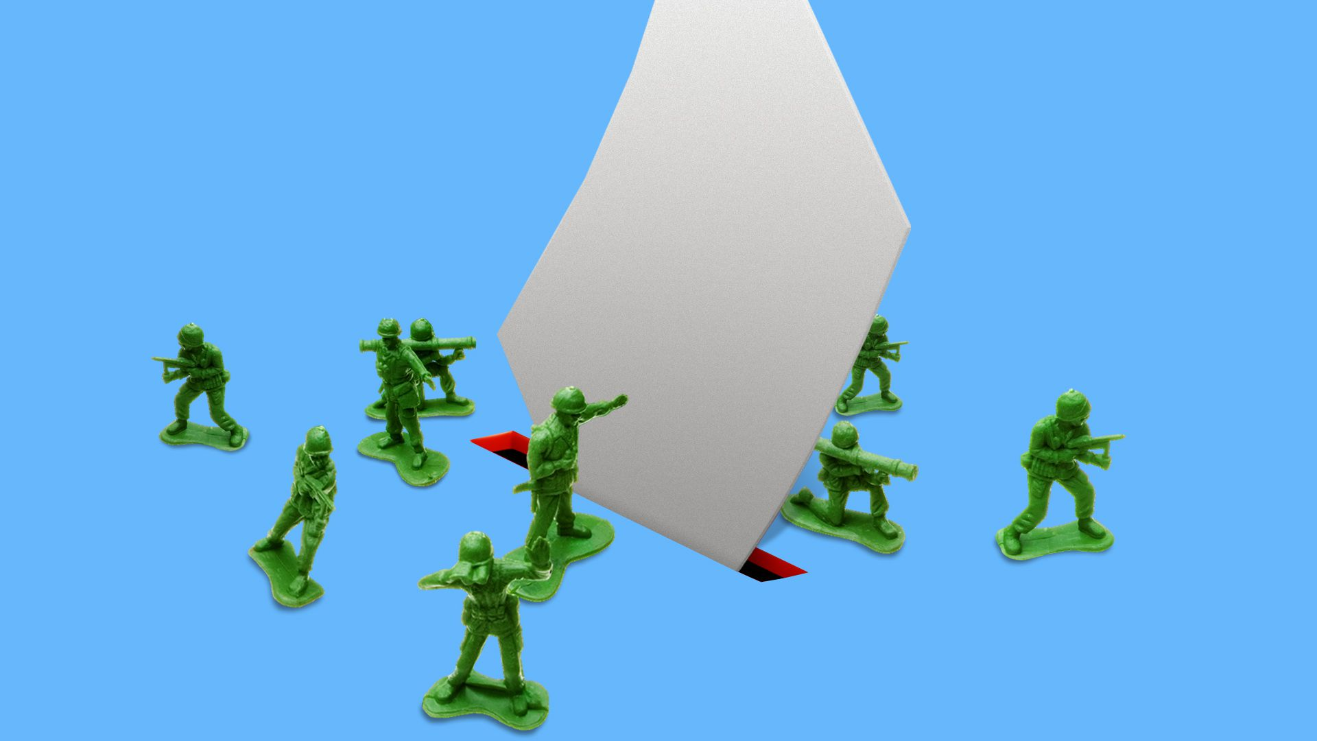 Illustration of green army figurines surrounding a paper ballot going into a red election slot over a blue background.